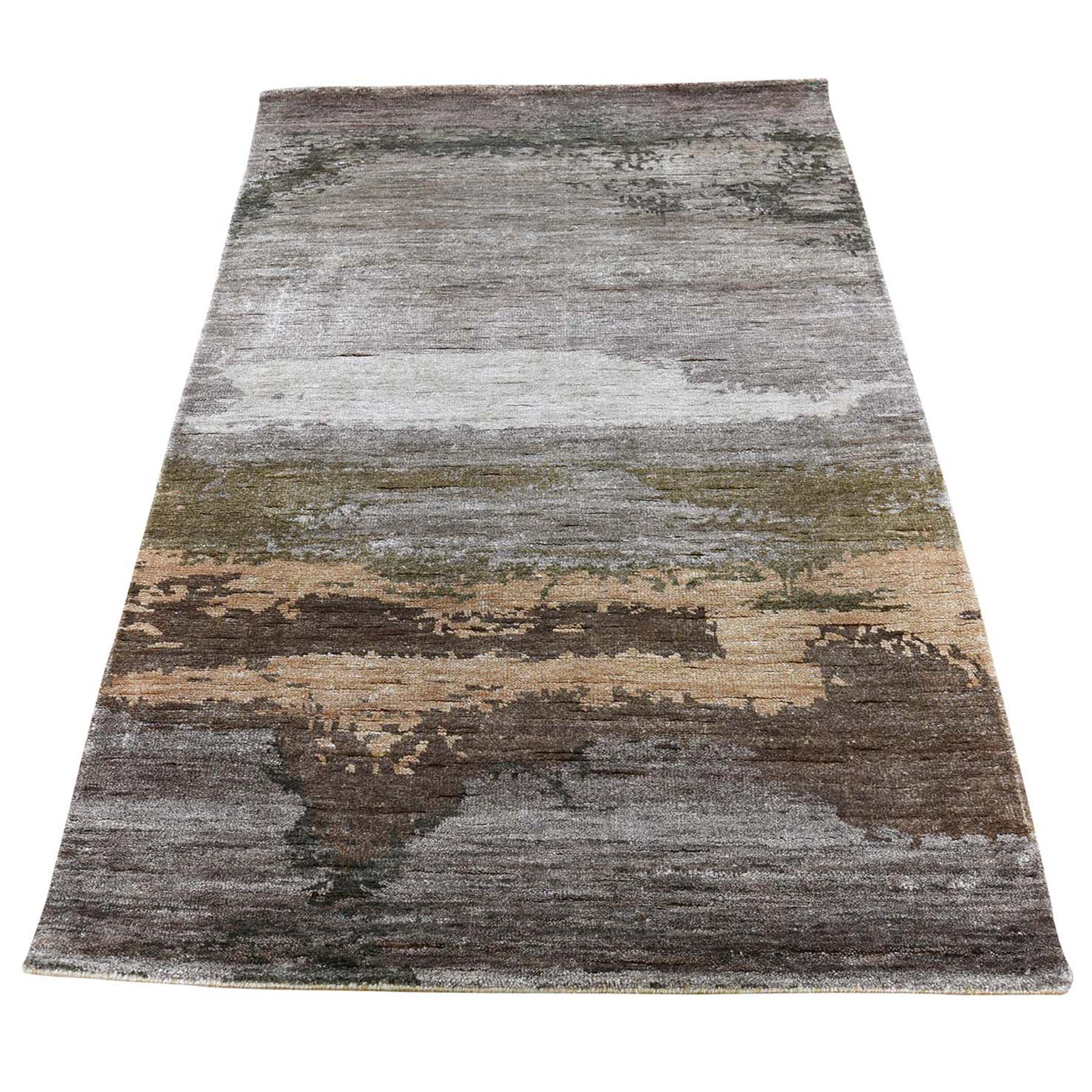 "3'X5'2"" Hi-Low Pile Abstract Design Wool And Silk Hand-Knotted Oriental Rug moad6d66"
