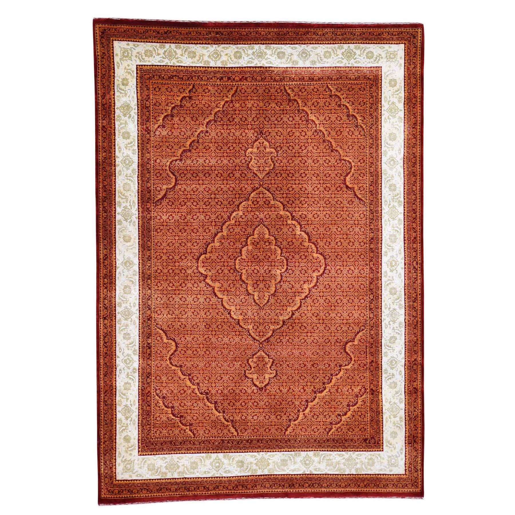 "5'7""x8'1"" Tone on Tone Tabriz Mahi With Ivory Wool and Silk Hand Knotted Oriental Rug"