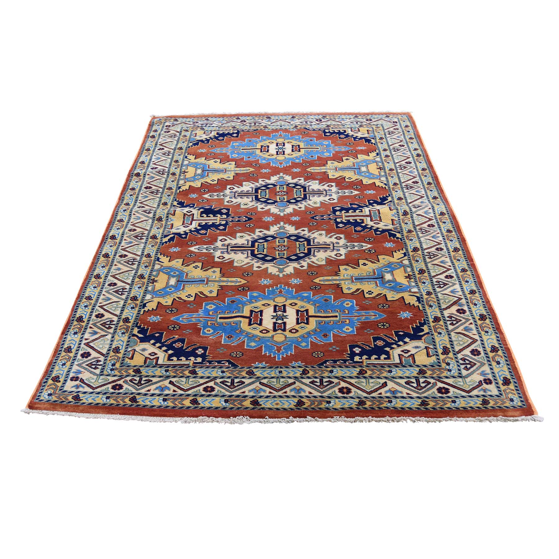 """4'2""""X6'3"""" Super Kazak Pure Wool Hand-Knotted Oriental Rug moad6d78"""