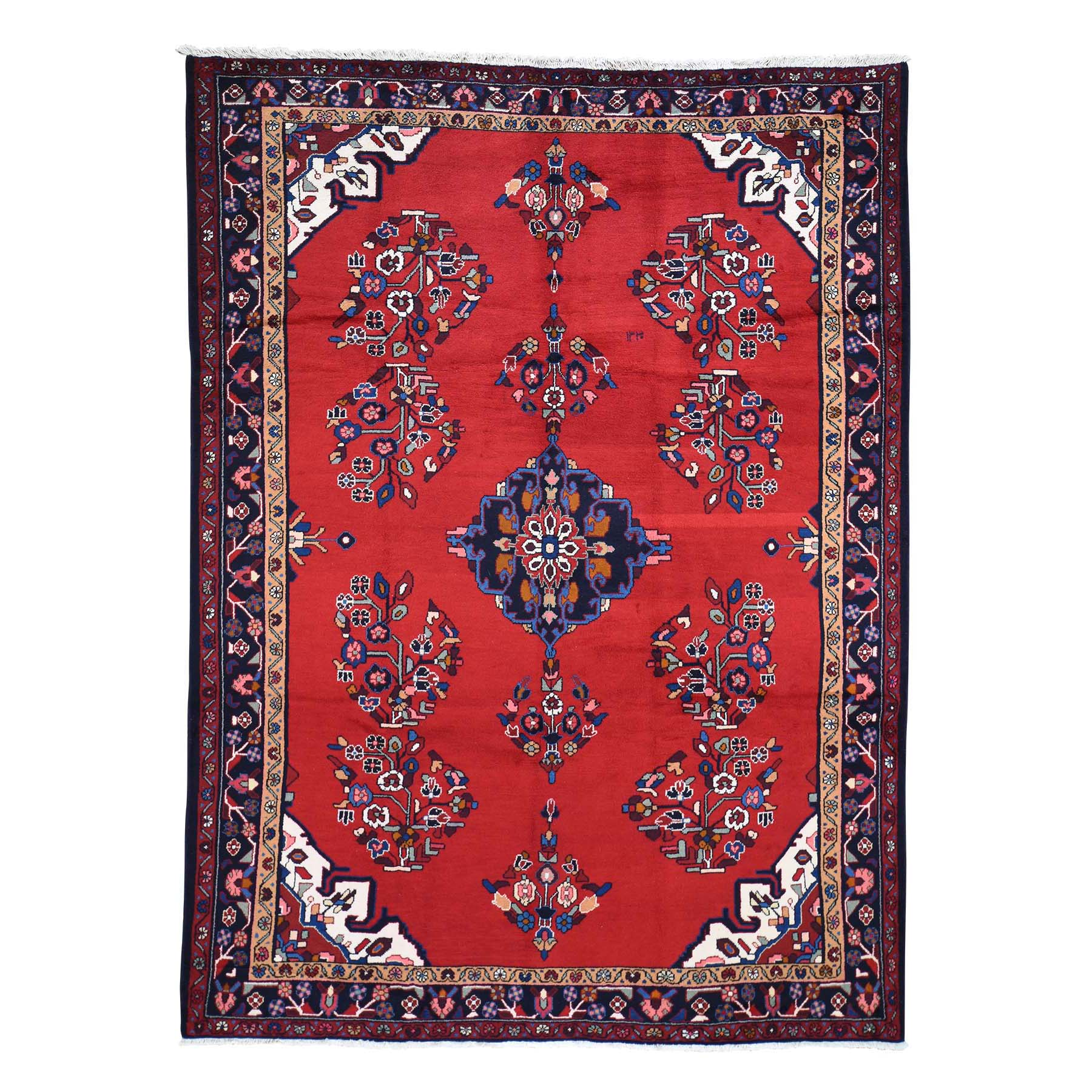 "7'2""X9'7"" Red New Persian Hamadan Pure Wool Hand-Knotted Oriental Rug moad6ead"