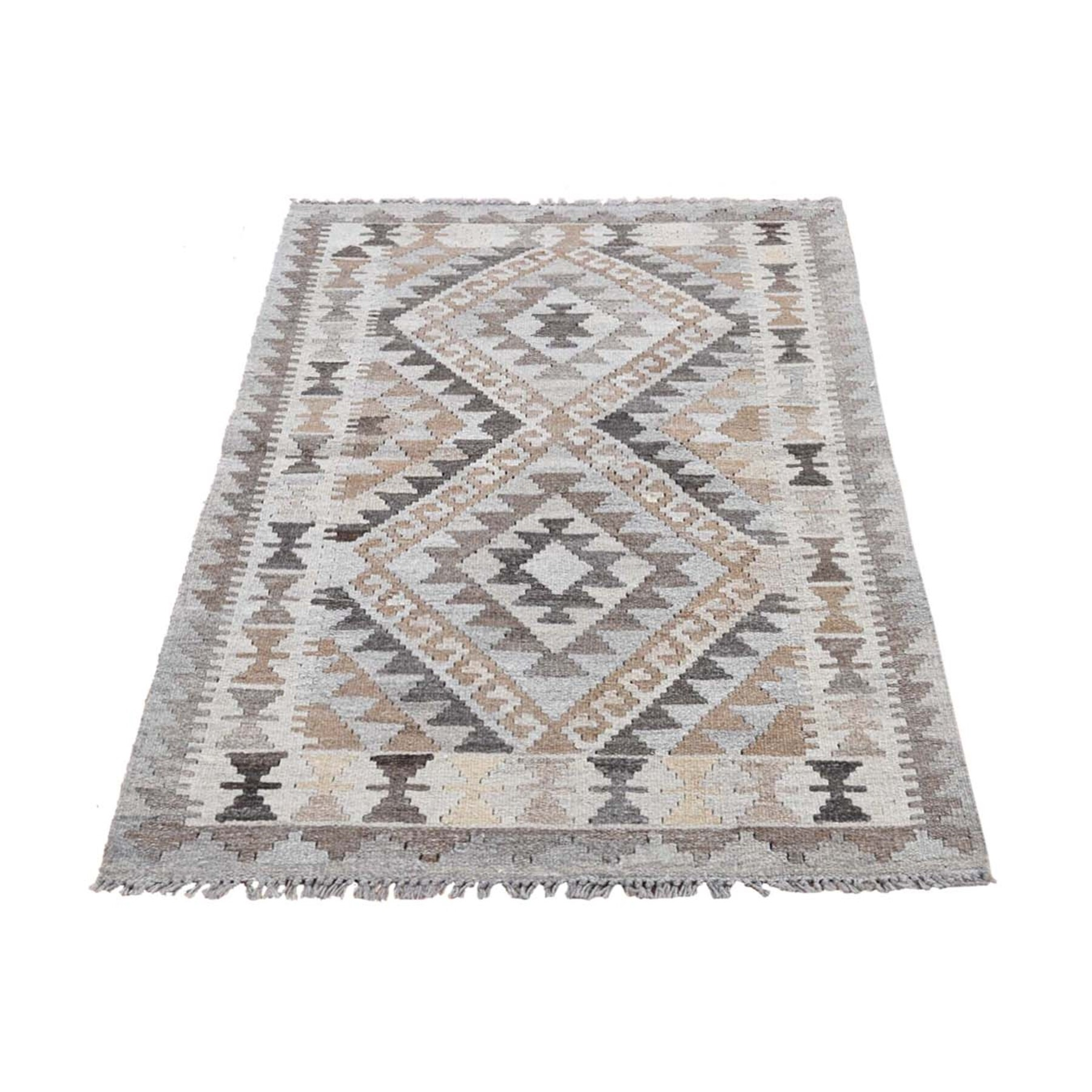 "2'10""X4' Undyed Natural Wool Afghan Kilim Reversible Hand Woven Oriental Rug moad6ec9"