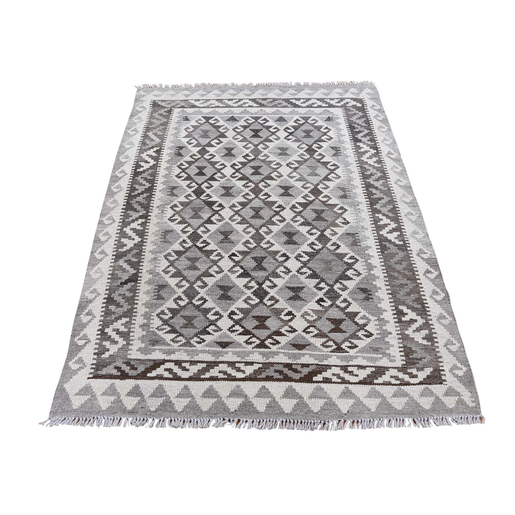 "3'4""X5'2"" Undyed Natural Wool Afghan Kilim Reversible Hand Woven Oriental Rug moad6edd"