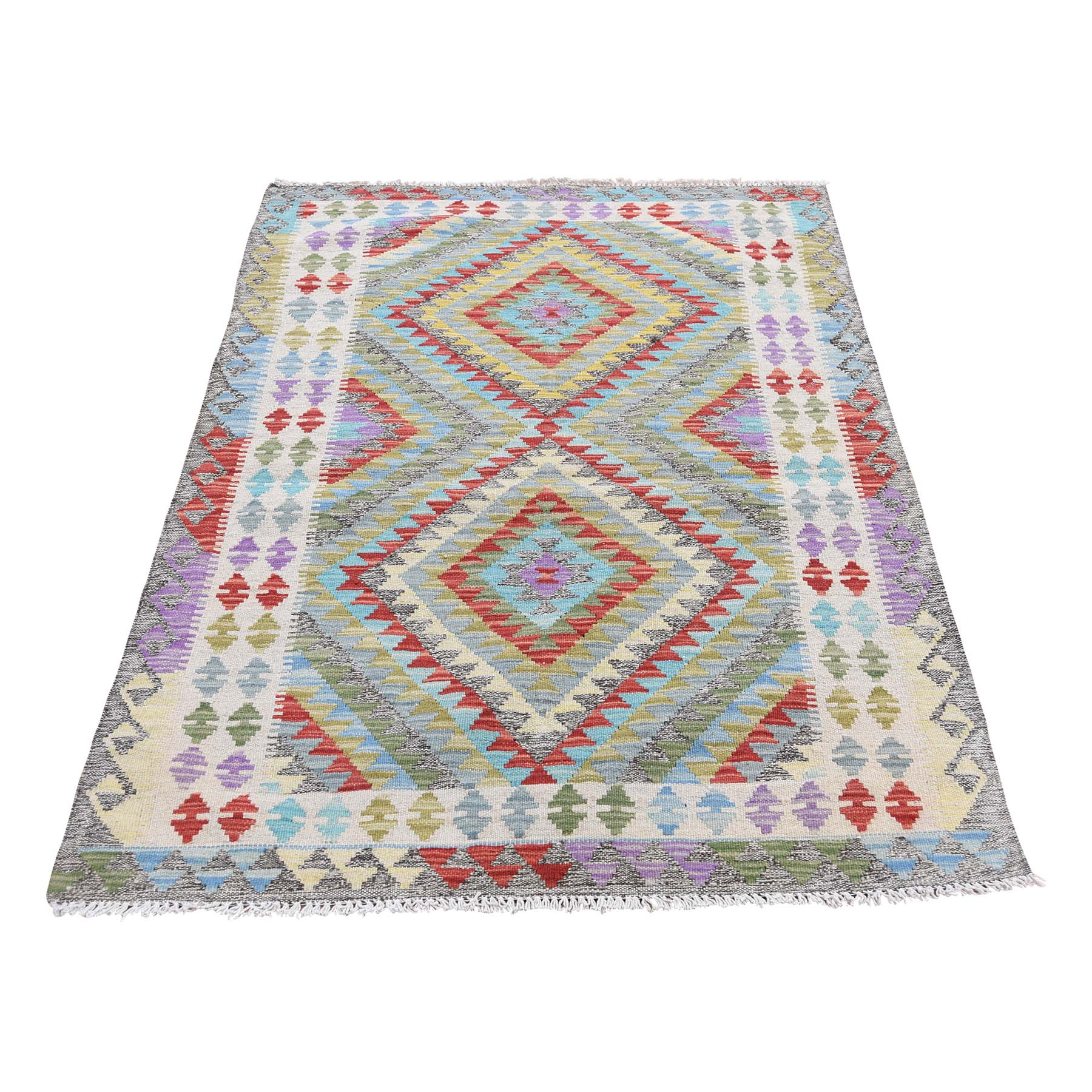 "3'2""X4'10"" Colorful Afghan Kilim Veg Dyes Hand Woven Pure Wool Oriental Rug moad6ee0"