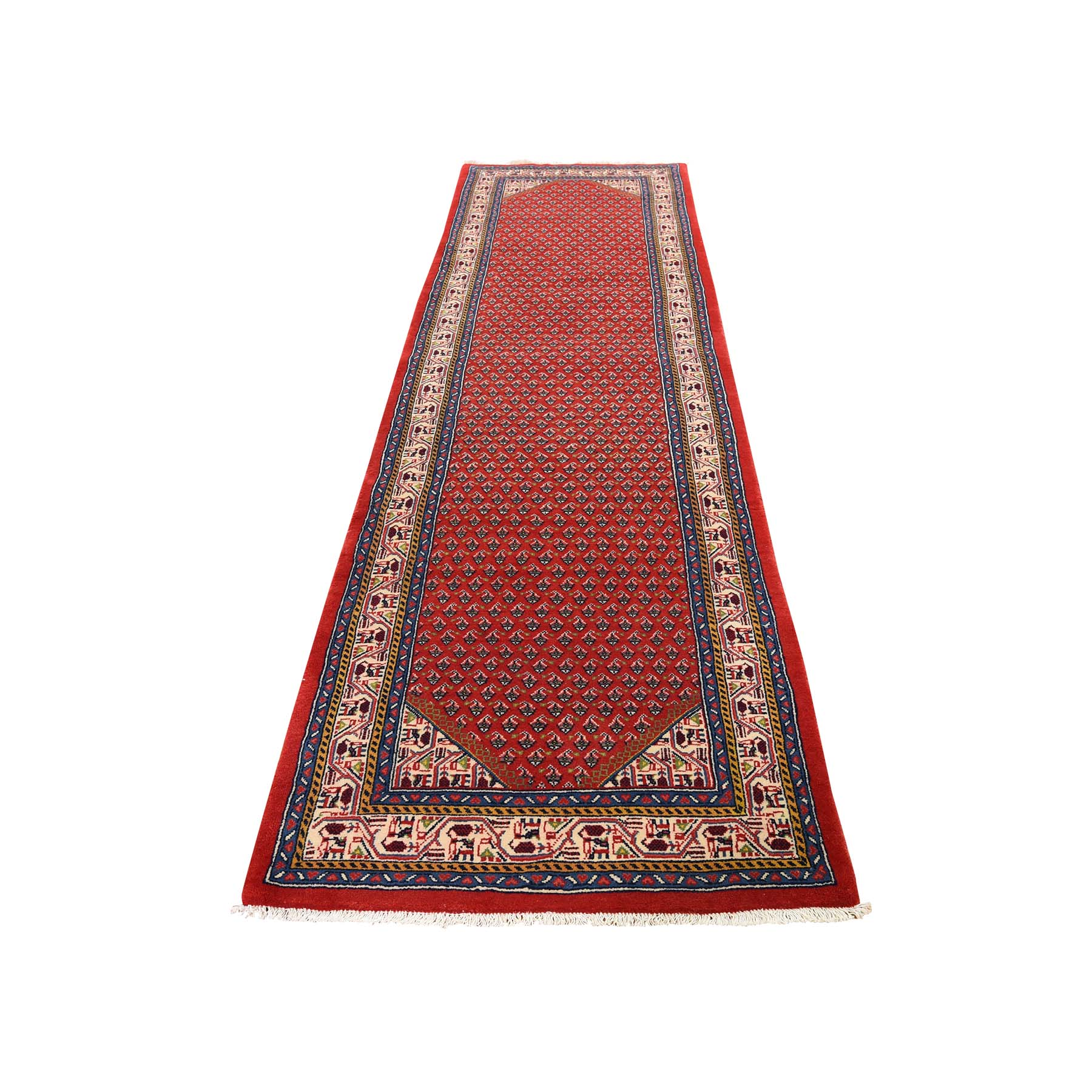 "2'7""X10'2"" Red New Persian Seraband Runner Pure Wool Hand-Knotted Oriental Rug moad6e77"