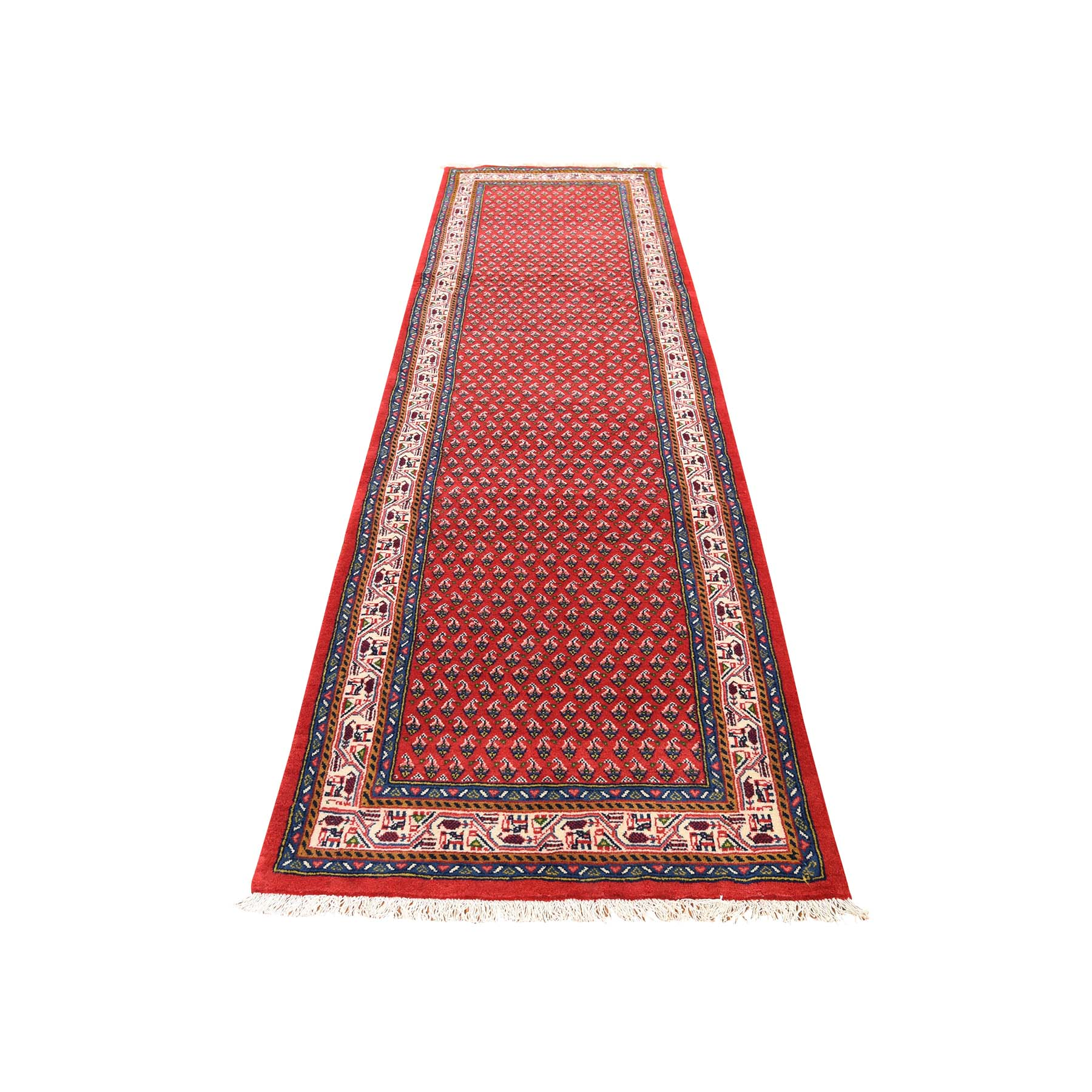 "2'7""X10'4"" Red New Persian Seraband Runner Pure Wool Hand-Knotted Oriental Rug moad6e78"