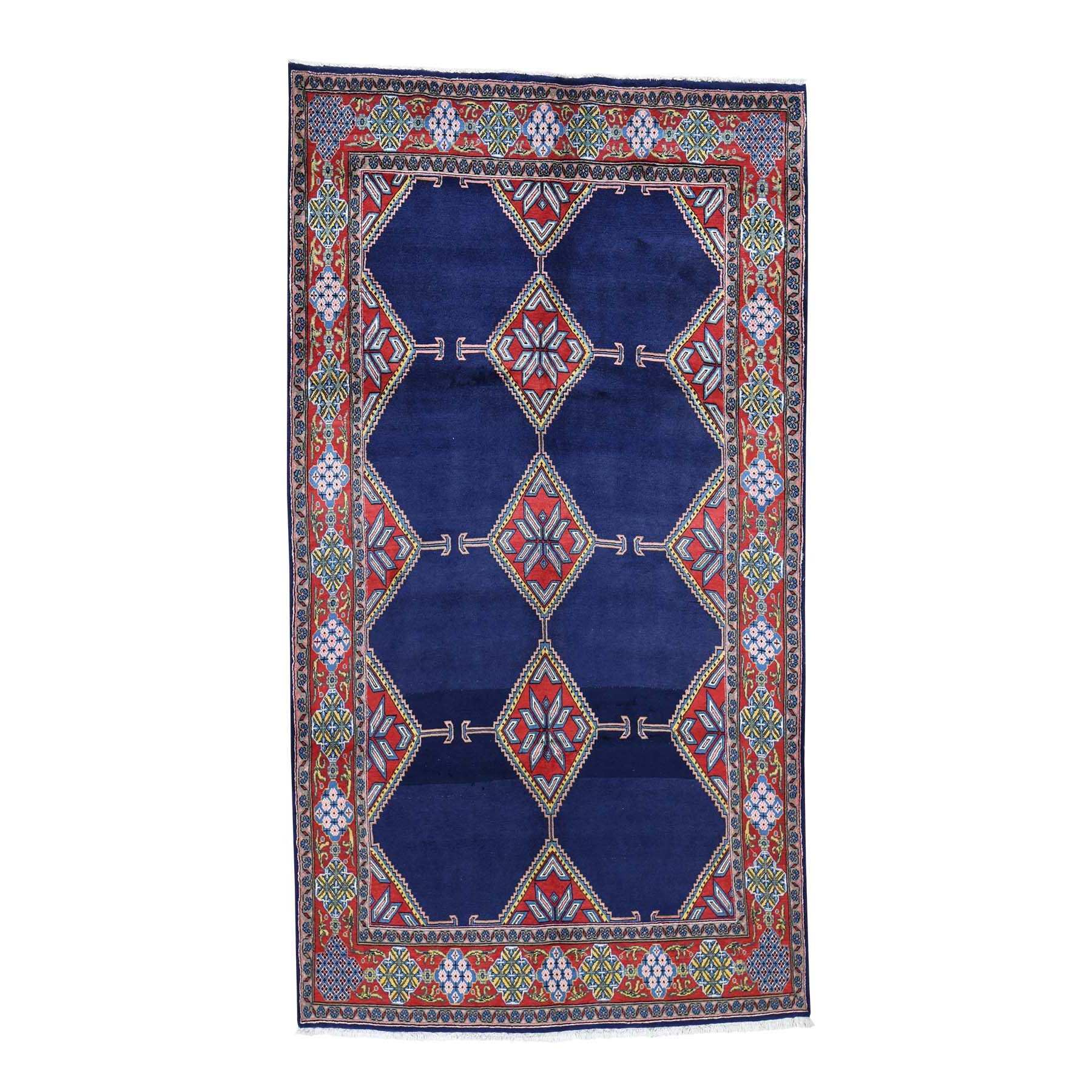 "5'1""X9'4"" Blue New Persian Hamadan Open Field Geometric Hand-Knotted Oriental Rug moad6607"