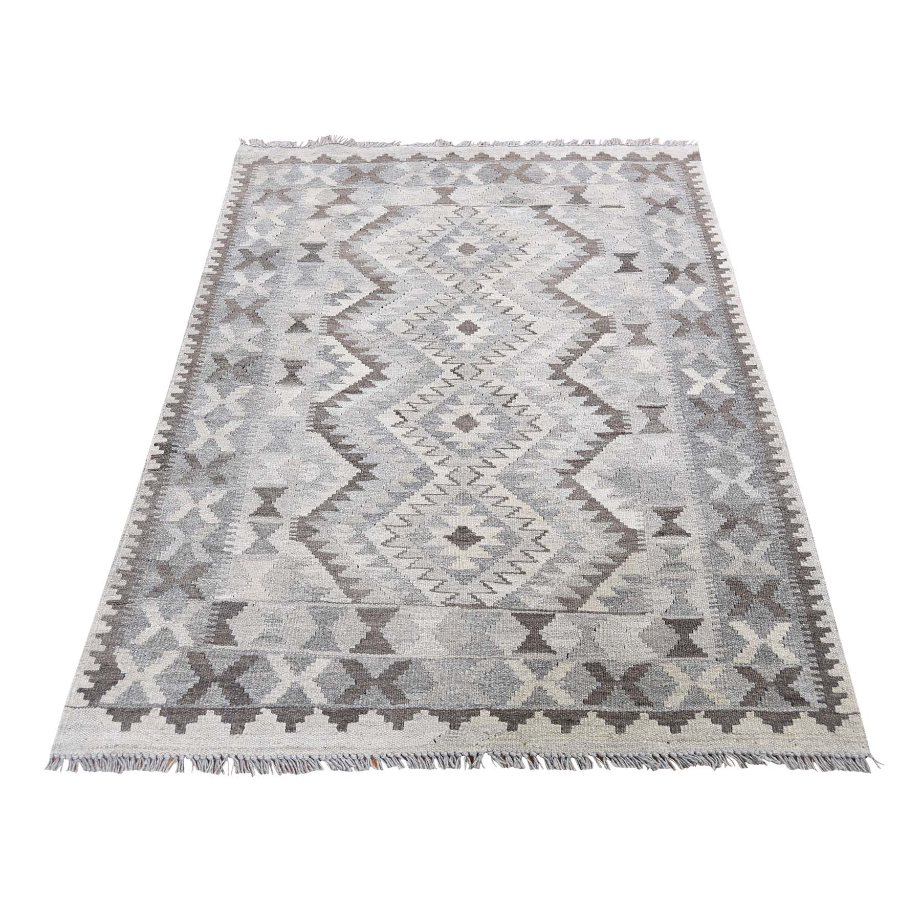 "3'1""X4'9"" Undyed Natural Wool Afghan Kilim Reversible Hand Woven Oriental Rug moad66aa"