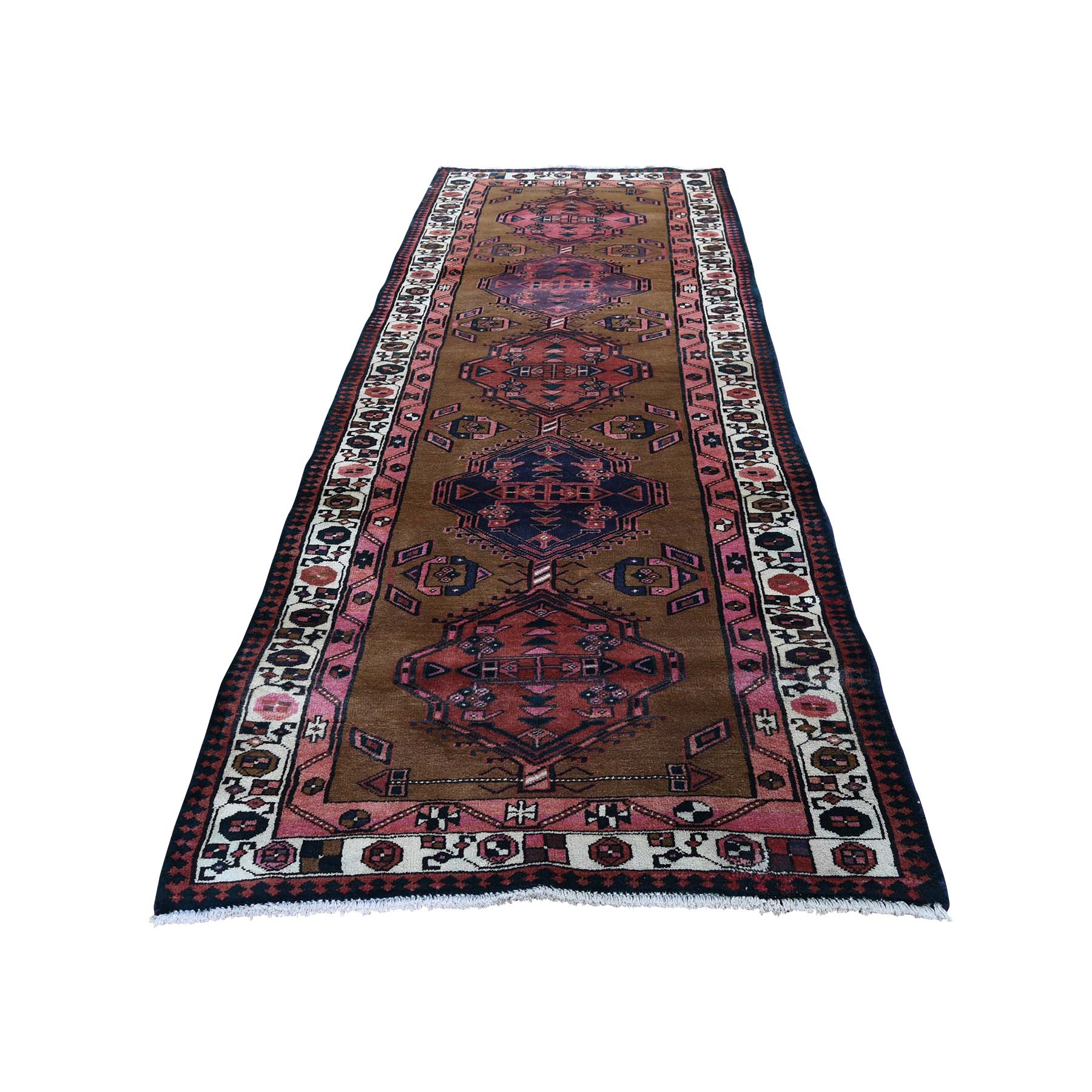 "3'6""X10'7"" Brown Vinatge Persian Camel Hair Serab Pure Wool Hand-Knotted Oriental Rug moad66b6"