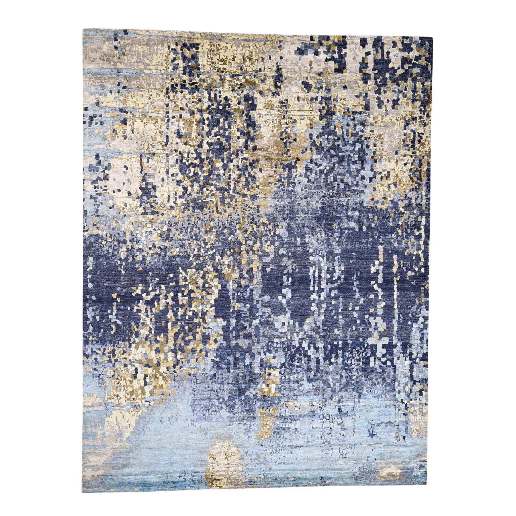 "8'10""X12'1"" Mosaic Design Blue Wool And Silk Hand-Knotted Oriental Rug moad66c6"