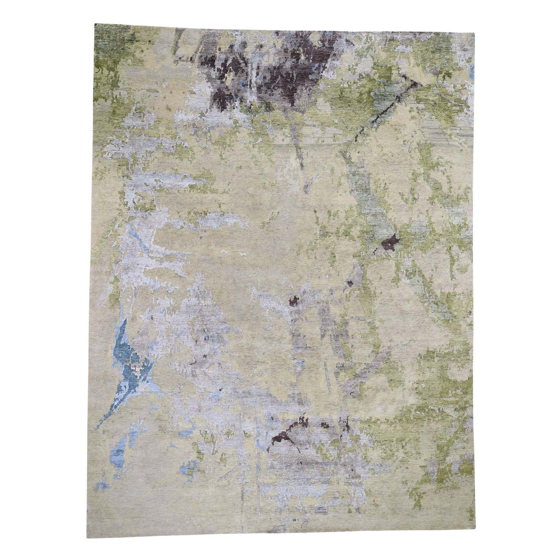 "9'1""X11'10"" Gray Abstract Paint Brush Design Wool And Silk Hand-Knotted Oriental Rug moad66dc"