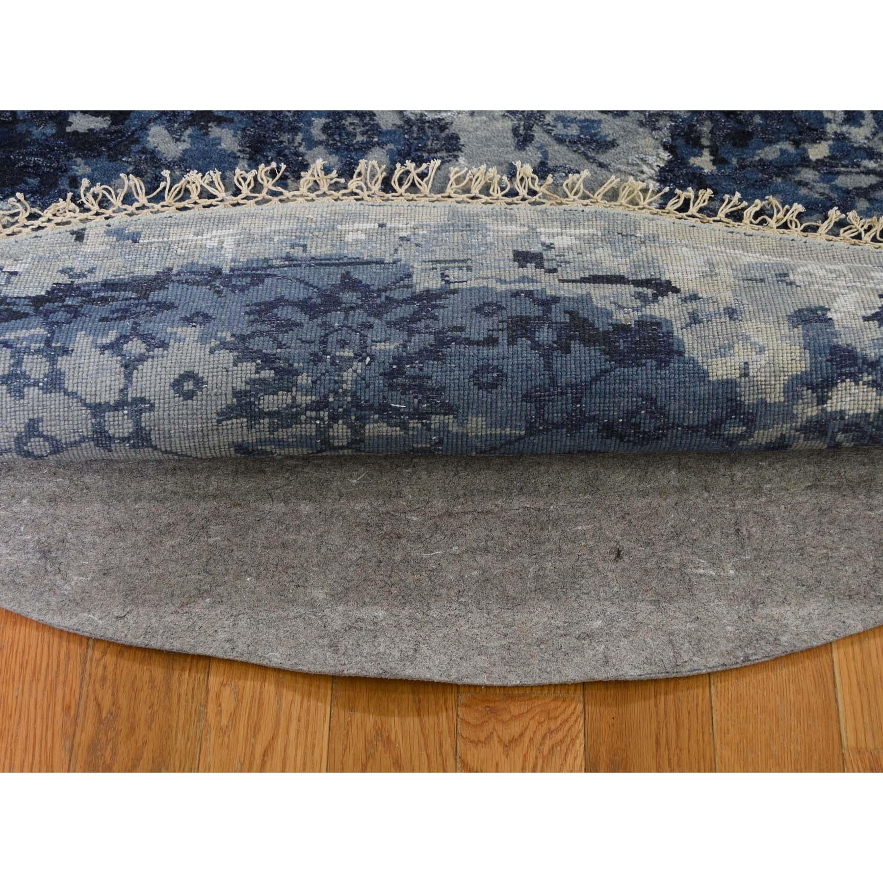 7-10 x7-10  Round Wool And Silk Shibori Design Tone On Tone Hand-Knotted Oriental Rug
