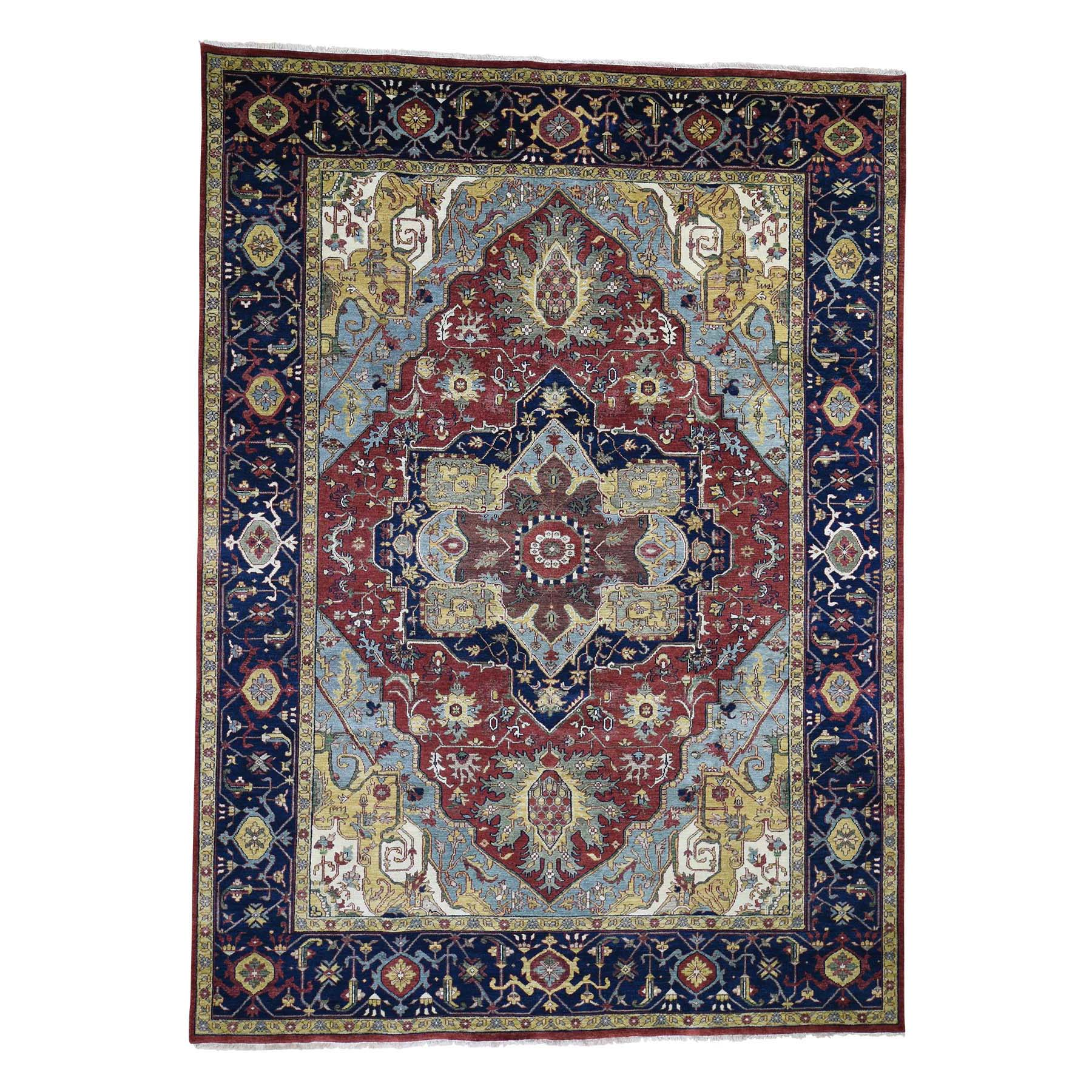 """8'10""""X12'2"""" Red Heriz Revival Pure Wool Hand-Knotted Oriental Rug moad6670"""