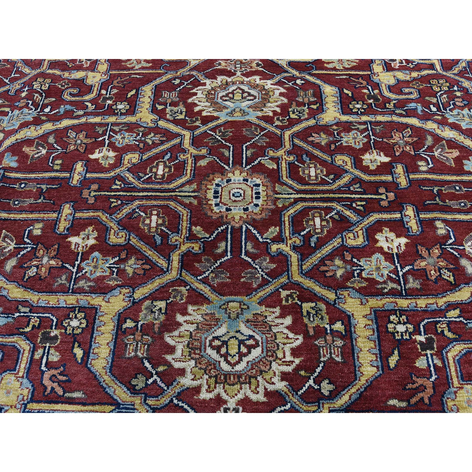 "8'x10'3"" Red Heriz Revival Pure Wool Hand-Knotted Oriental Rug"