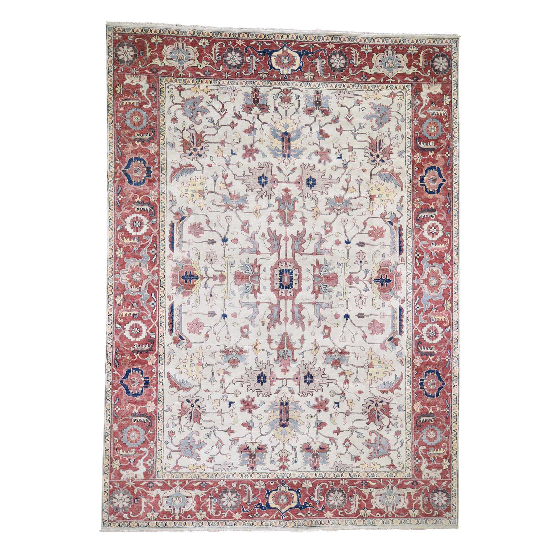 "9'9""X13'7"" Ivory Heriz Revival All Over Design Pure Wool Hand-Knotted Oriental Rug moad6678"