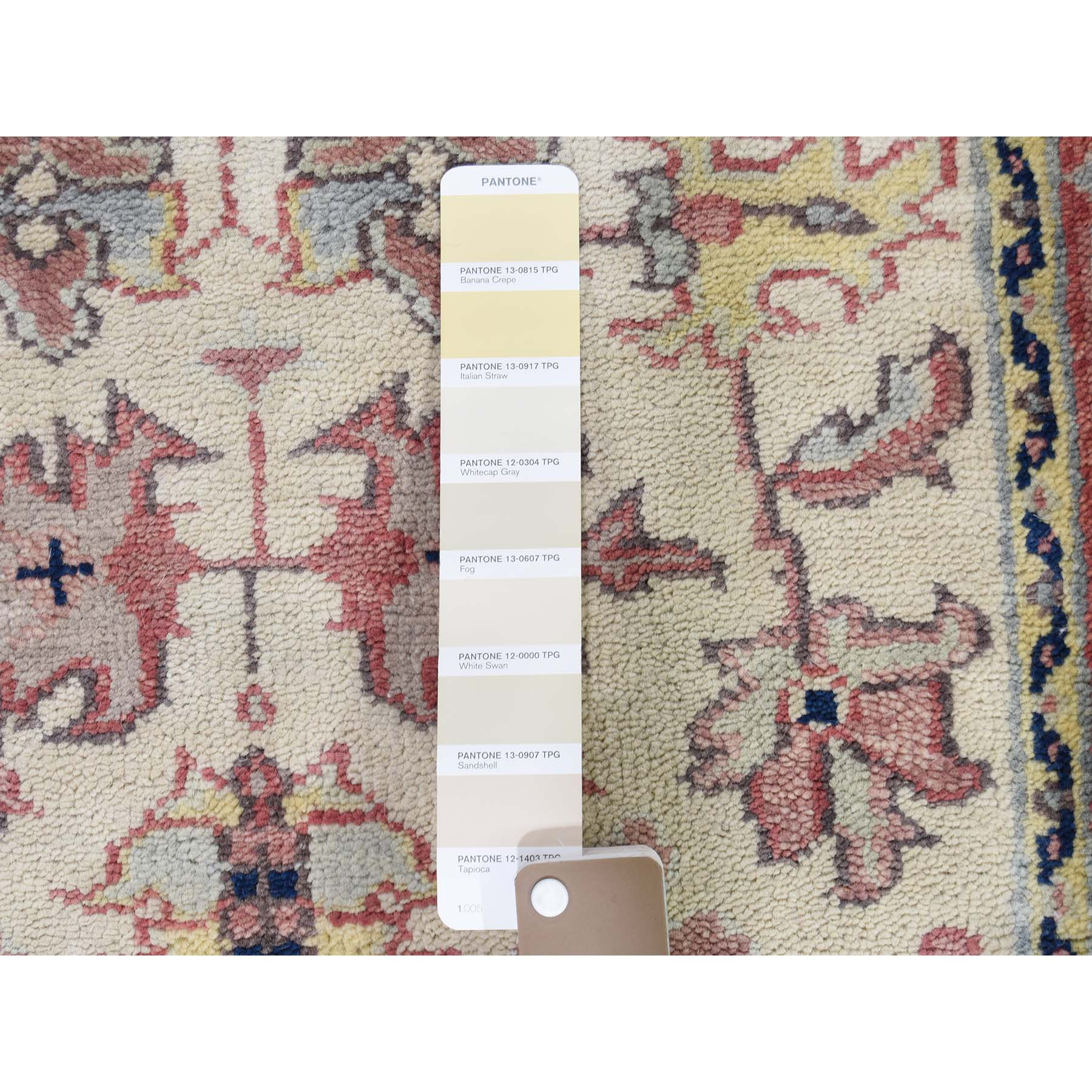 2-6 x7-9  Ivory Heriz Revival All Over Design Pure Wool Hand-Knotted Oriental Runner Rug