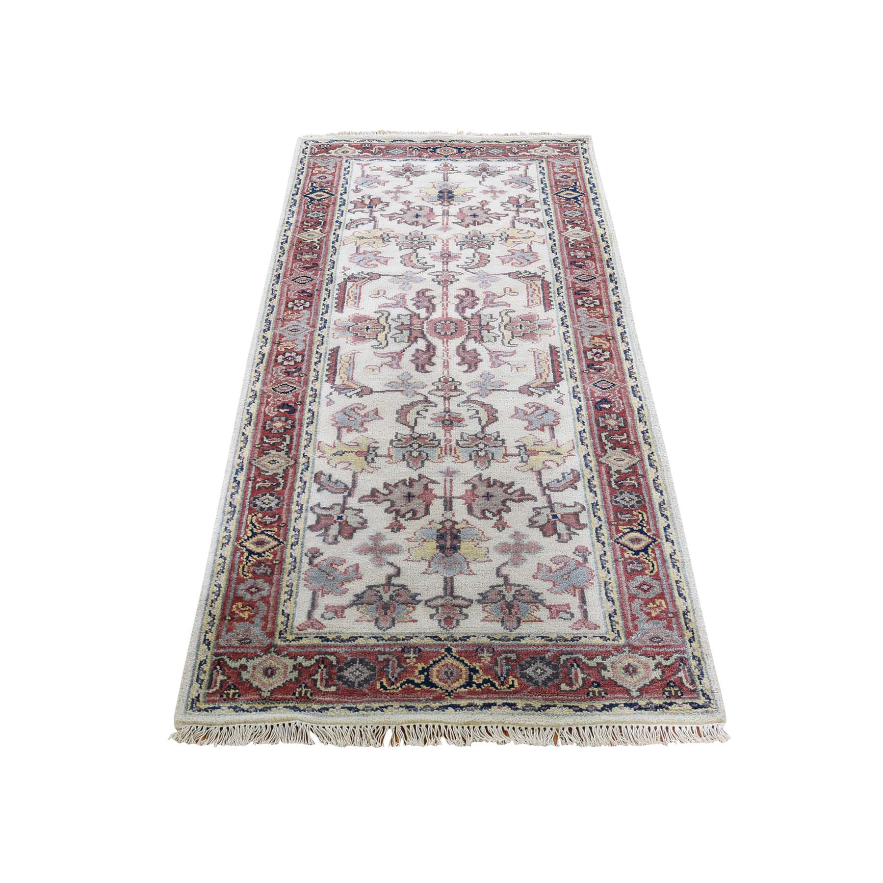 "2'5""X5'10"" Ivory Heriz Revival All Over Design Pure Wool Hand-Knotted Oriental Runner Rug moad669d"