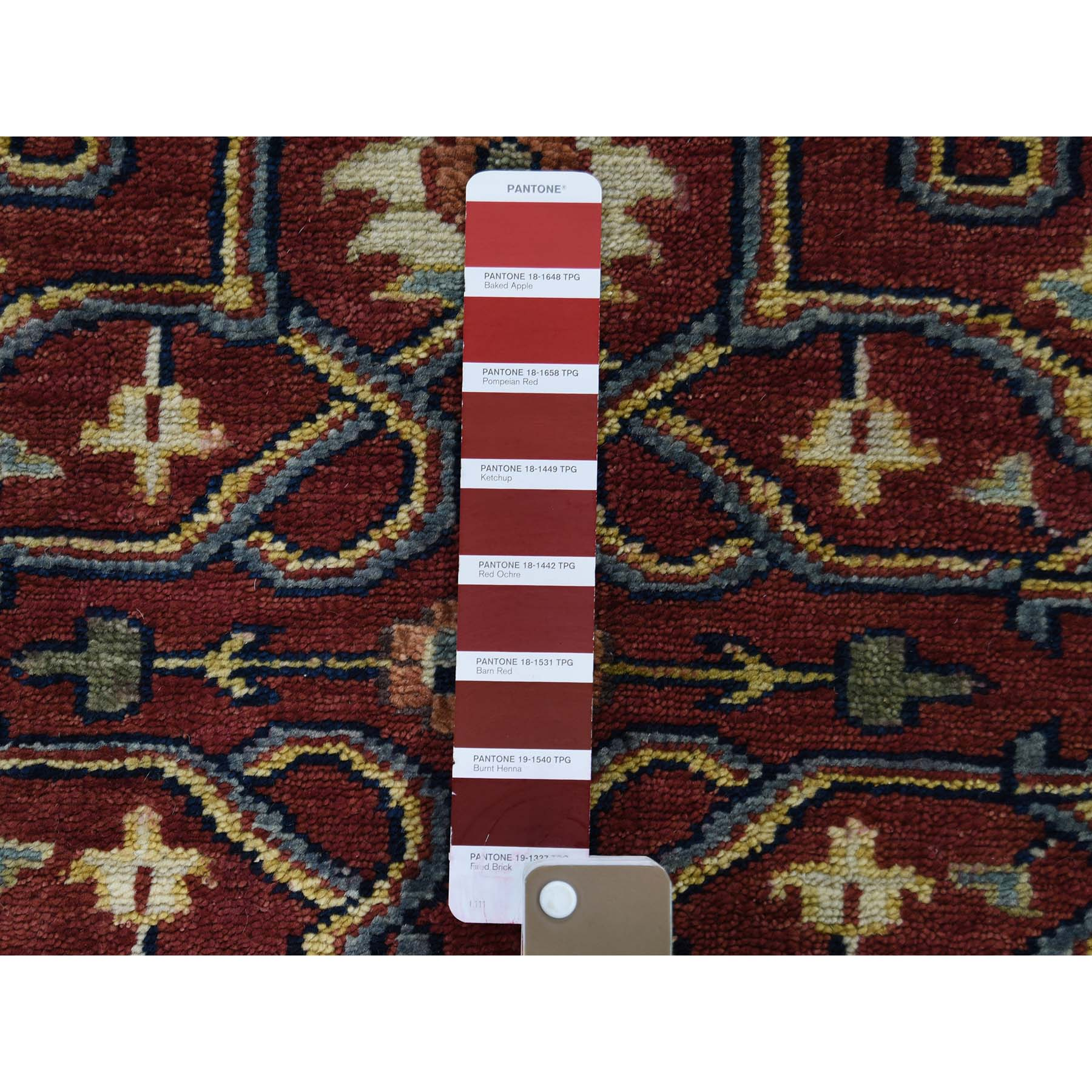 "2'7""x9'8"" Red Heriz Revival Pure Wool Hand-Knotted Oriental Runner Rug"