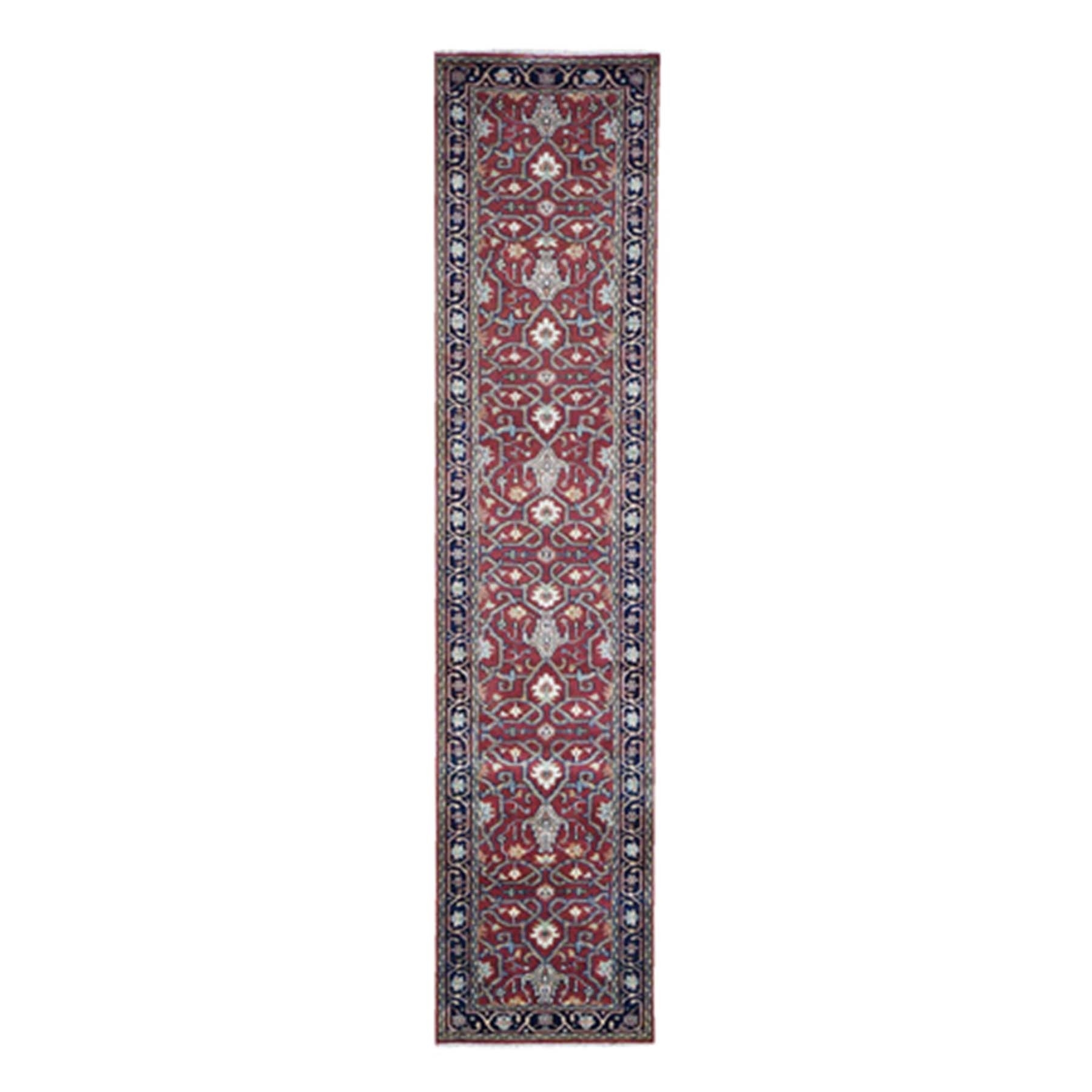 "2'4""X11'8"" Red Heriz Revival Pure Wool Hand-Knotted Oriental Runner Rug moad670a"