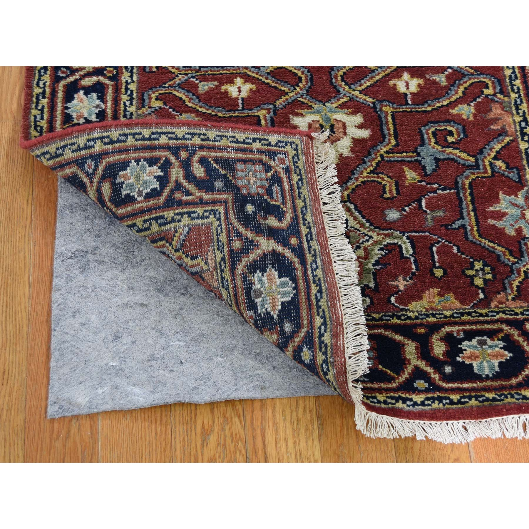 2-4 x11-8  Red Heriz Revival Pure Wool Hand-Knotted Oriental Runner Rug