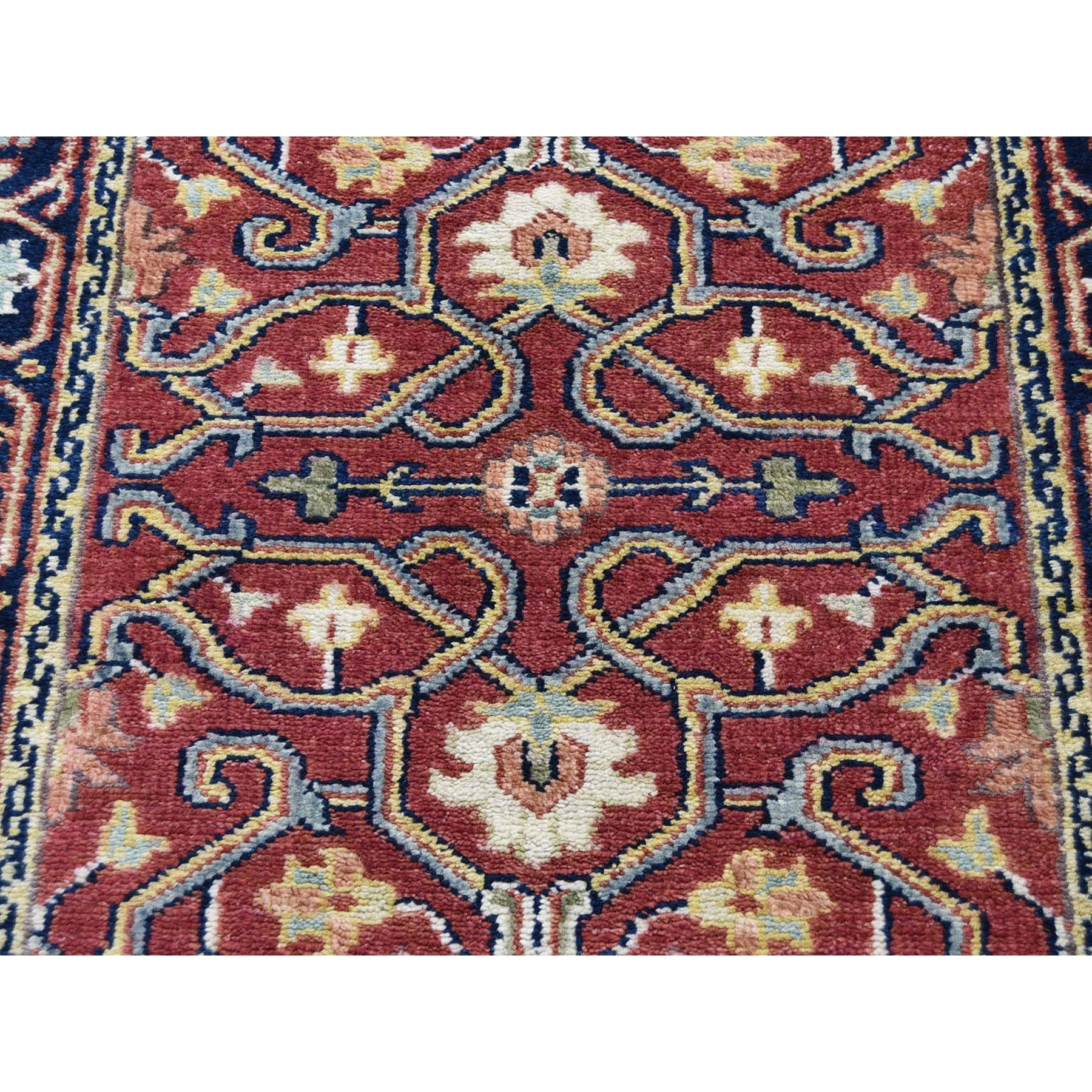 "2'4""x11'8"" Red Heriz Revival Pure Wool Hand-Knotted Oriental Runner Rug"