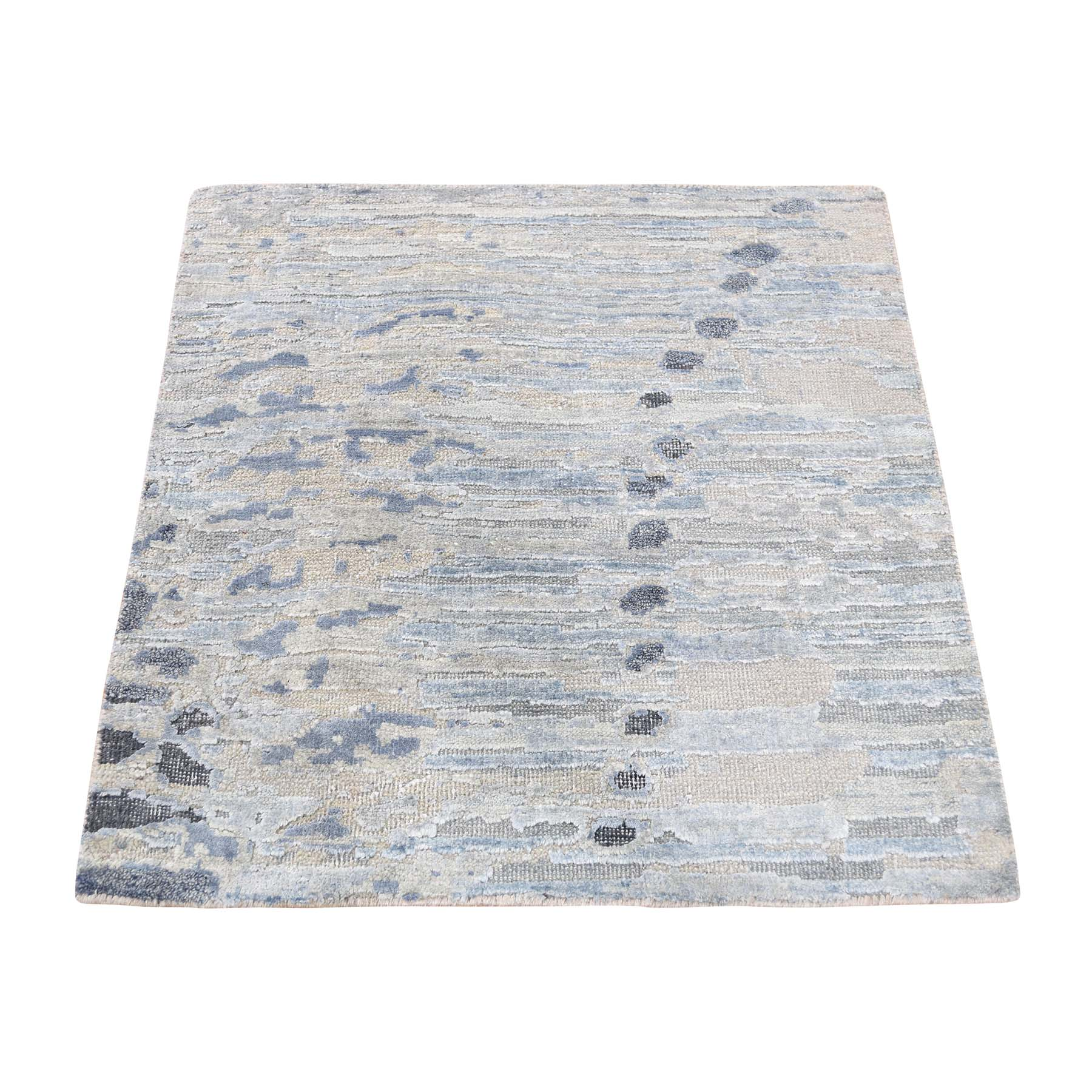 "2'X2'3"" Sampler Textured Pure Silk With Textured Wool Hand-Knotted Oriental Rug moad67bd"