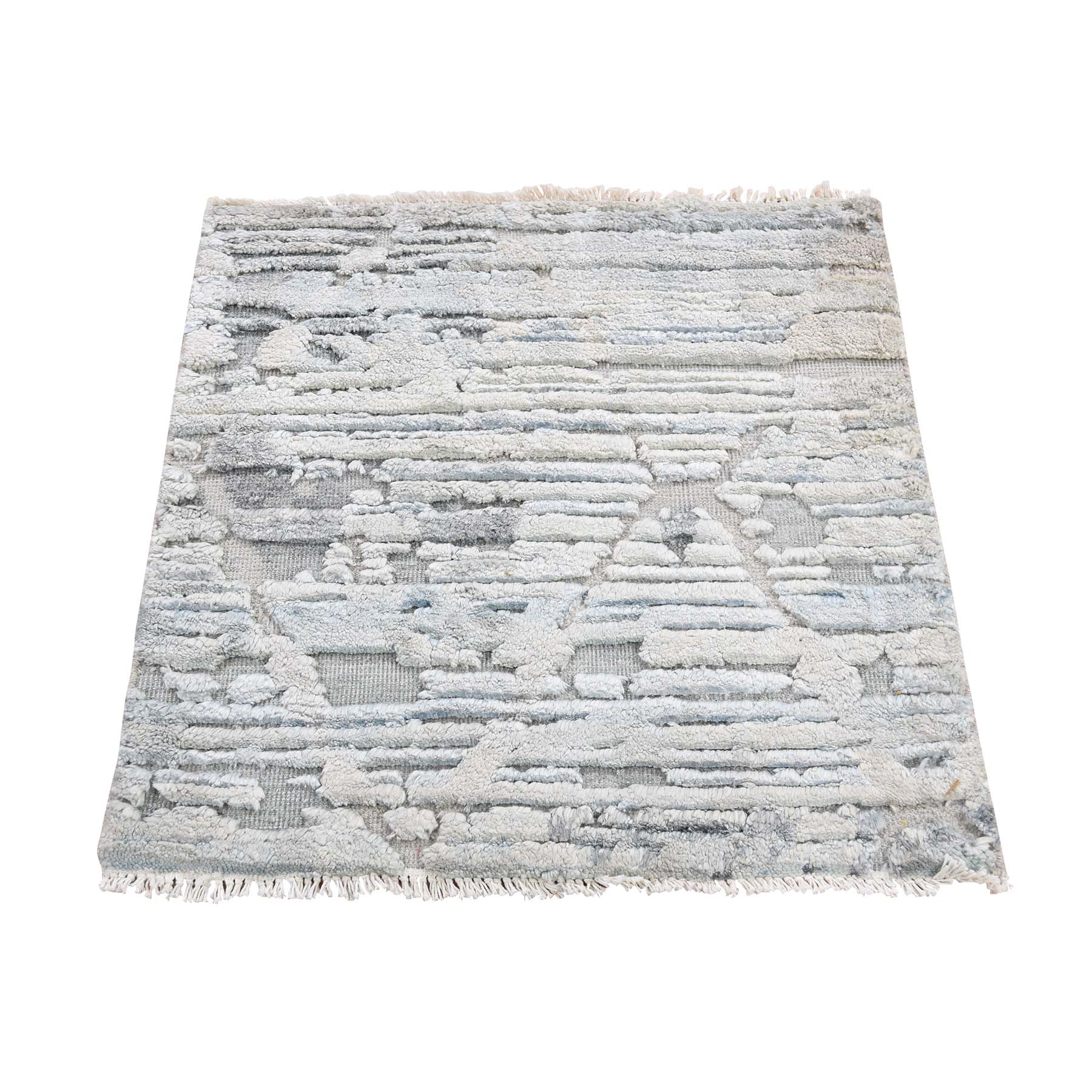 "2'X2'1"" Sampler Luxurious Plush Pure Silk With Textured Wool Hand-Knotted Oriental Rug moad67be"