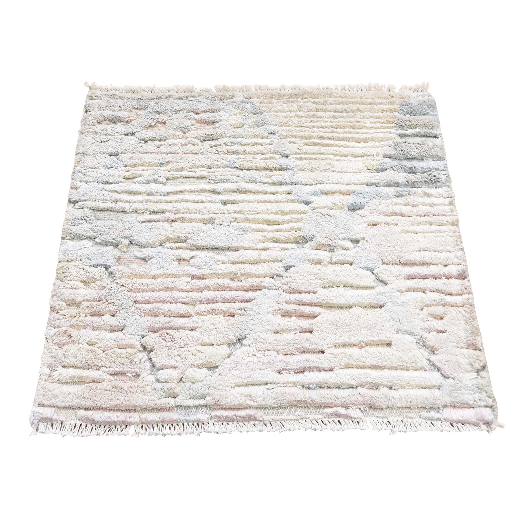 2'x2' Sampler luxurious Plush Pure Silk With Textured Wool Hand-Knotted Oriental Rug