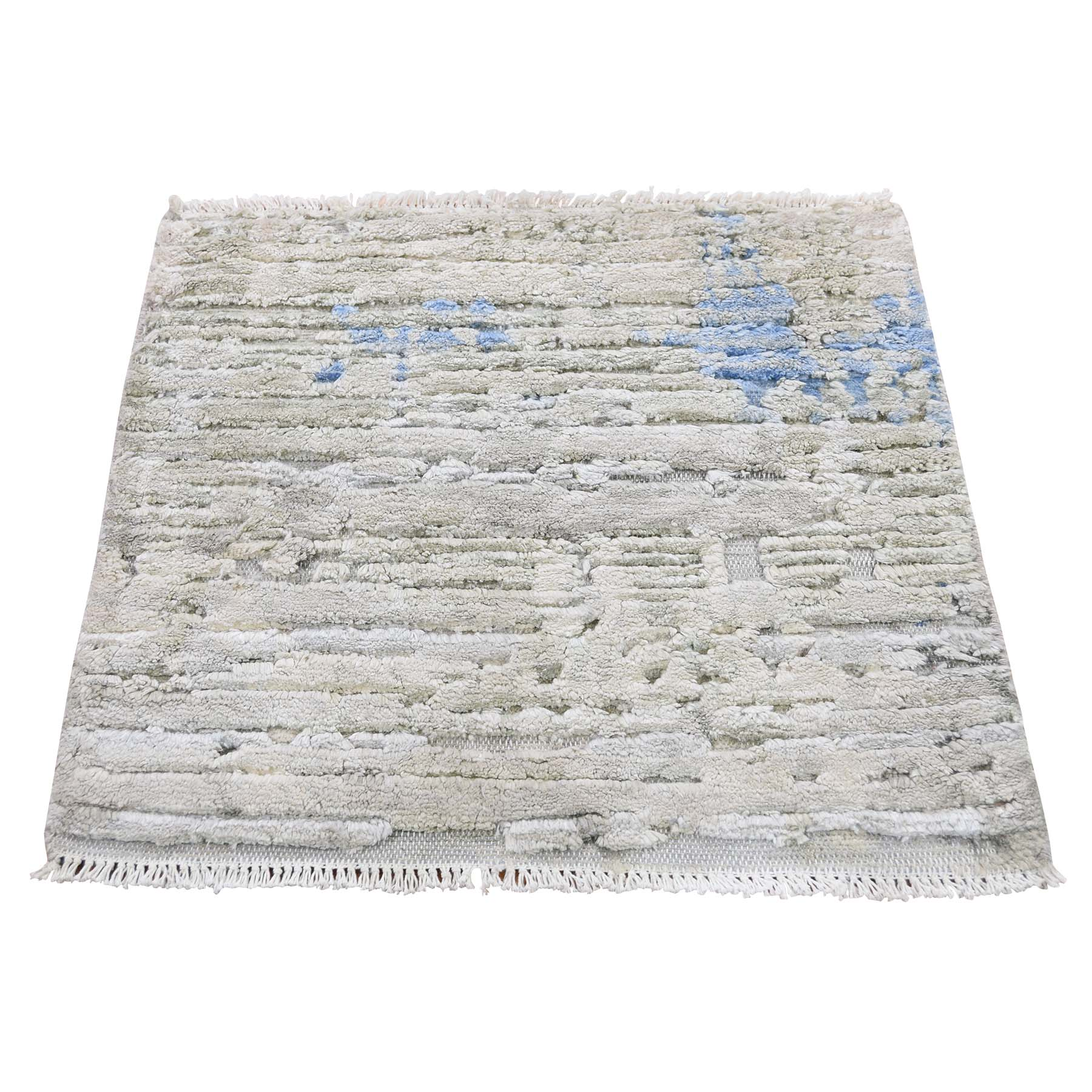 2'x2' Sampler Textured Pure Silk With Textured wool Hand-Knotted Oriental Rug
