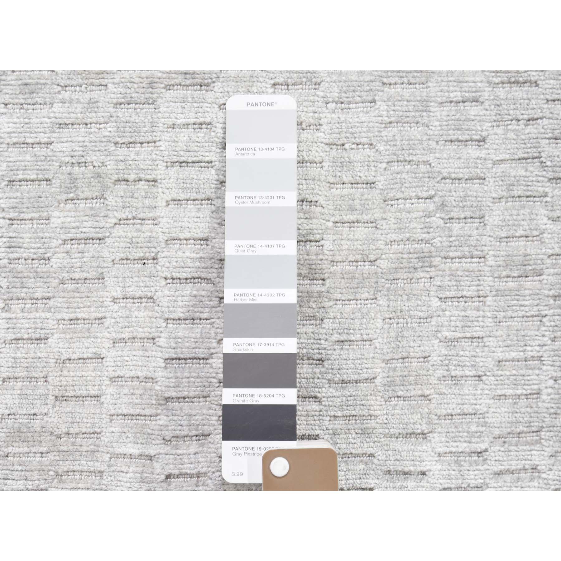 2-x3- Sampler Hand-Loomed Grey Tone on Tone Pure Wool Oriental Rug