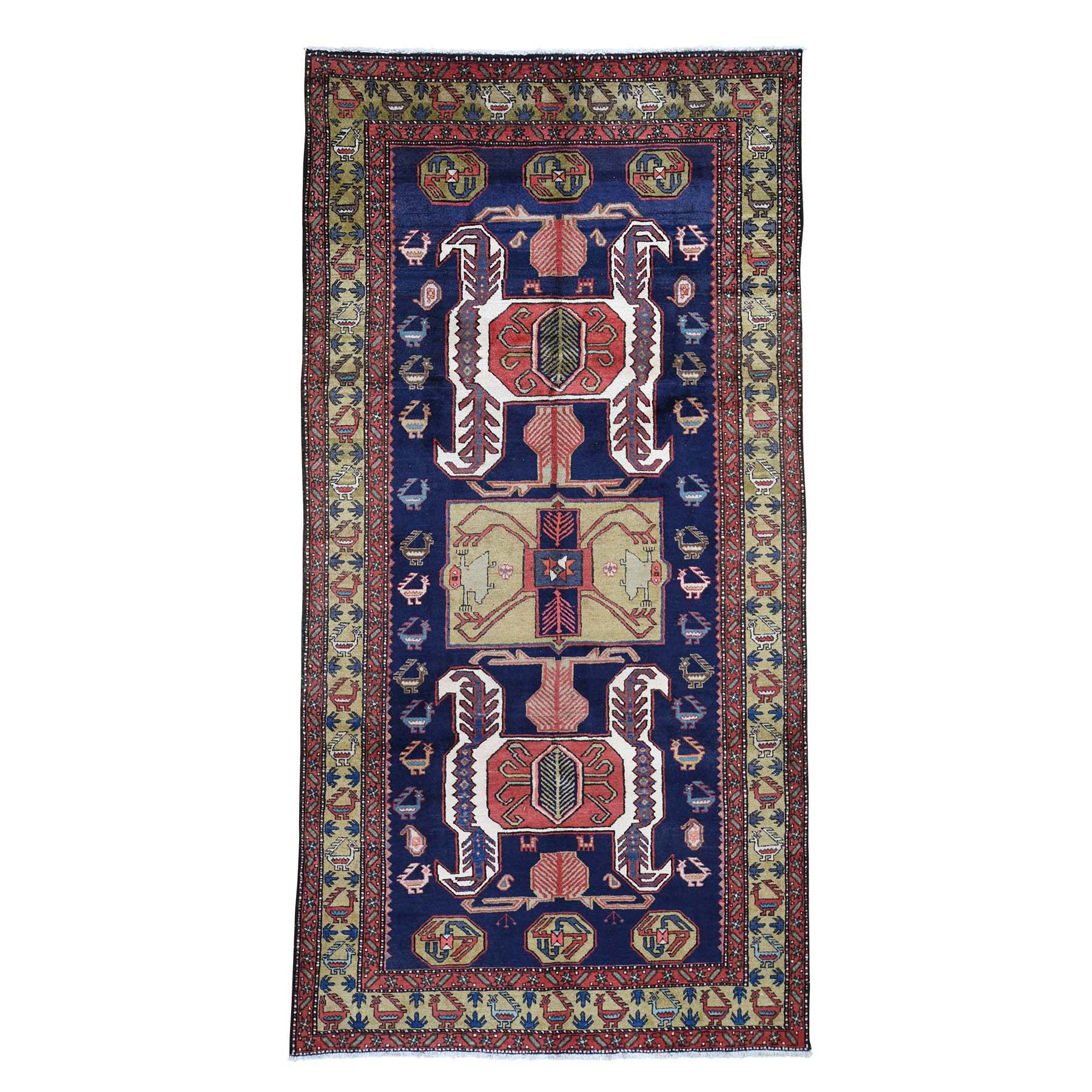 "5'7""X11' Vintage North West Persian With Ancient Peacocks Figure Motifs  Wide Gallery Runner Hand-Knotted Oriental Rug moad67e0"