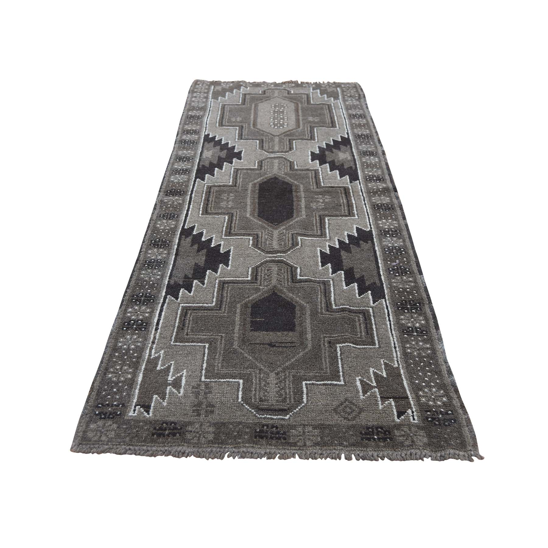 "2'5""X8' Washed Out Afghan Baluch With Natural Colors  Pure Wool Runner Hand-Knotted Oriental Rug moad677b"