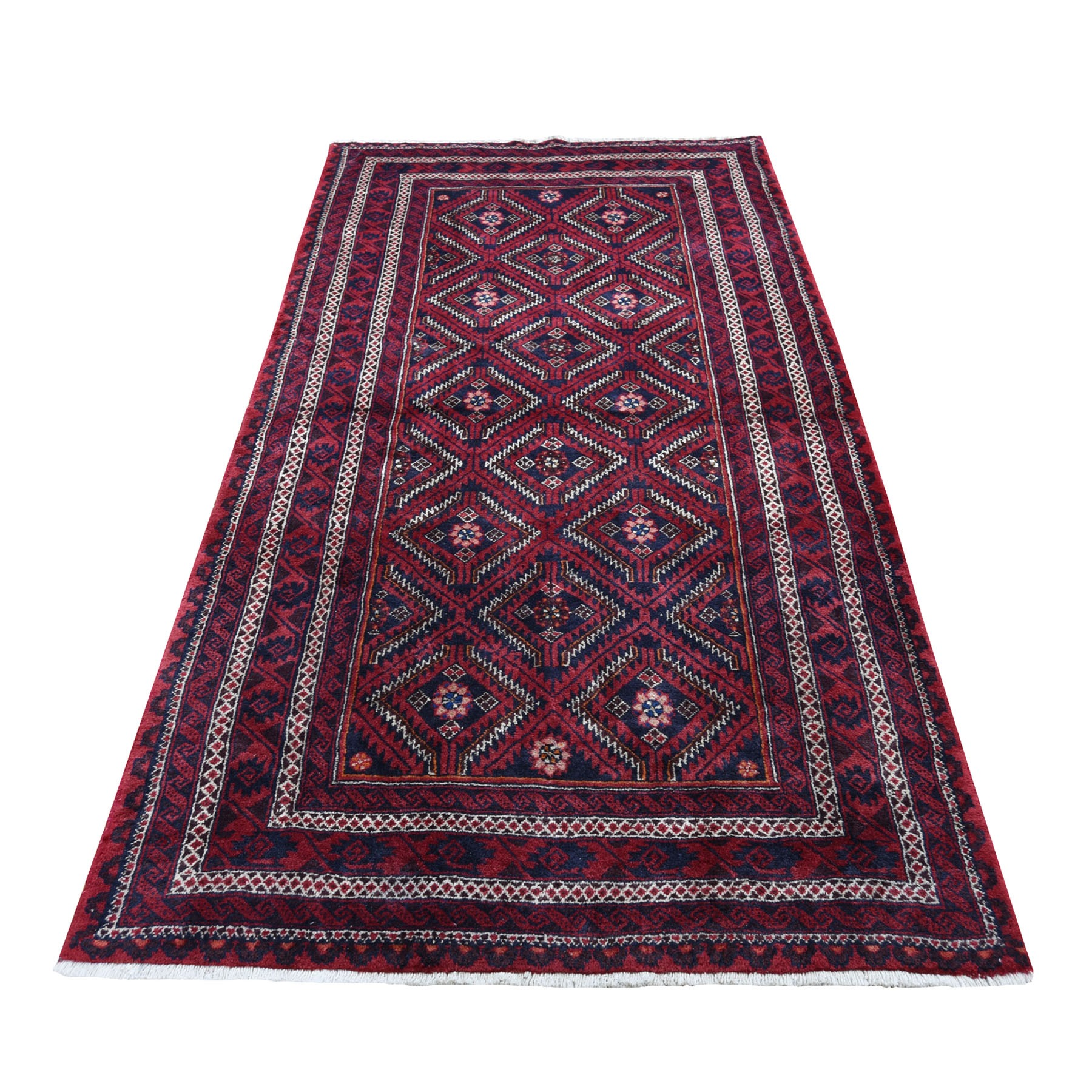 "4'X7'6"" Red Vintage Persian Baluch Exc Condition Full Pile Hand-Knotted Oriental Rug moad6779"