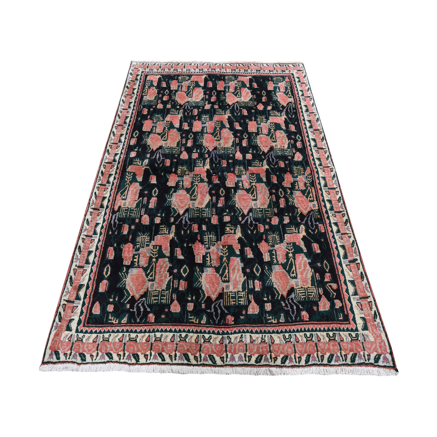 "4'9""X6'6"" Navy Blue Vintage Persian Afshar Karabagh Design Pure Wool Hand-Knotted Oriental Rug moad678d"