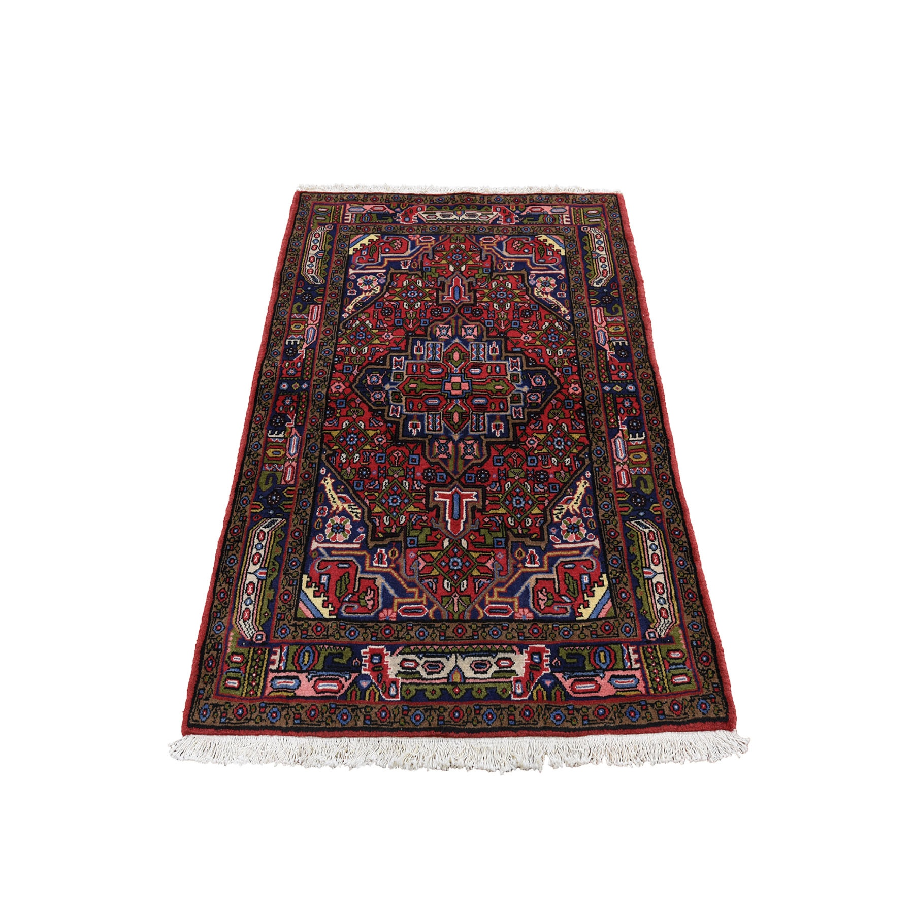 "3'5""x4'10"" Red New Persian Hamadan Pure Wool Hand-Knotted Oriental Rug"