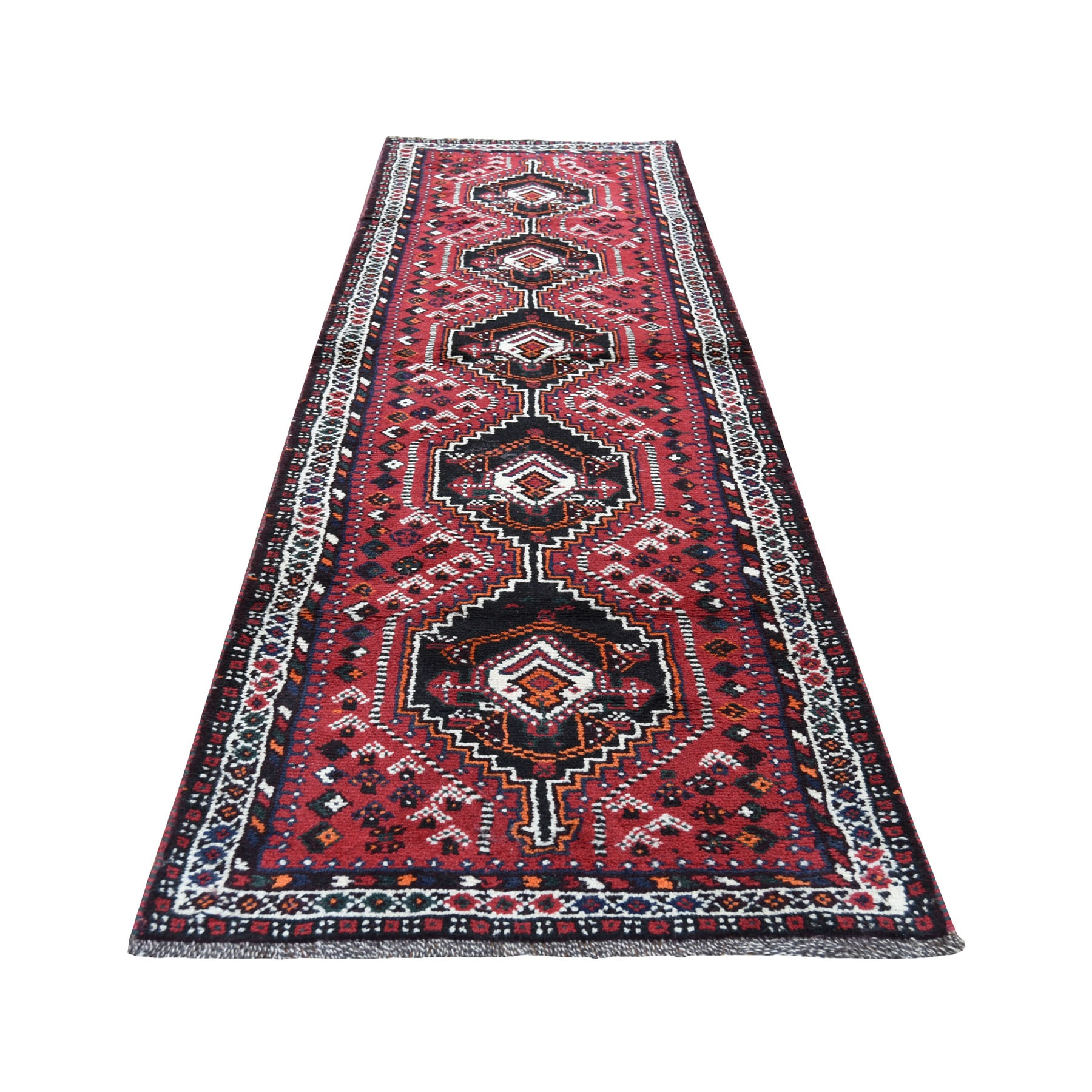 "2'7""X9'5"" Red New Persian Shiraz Pure Wool Narrow Runner Hand-Knotted Oriental Rug moad68b9"
