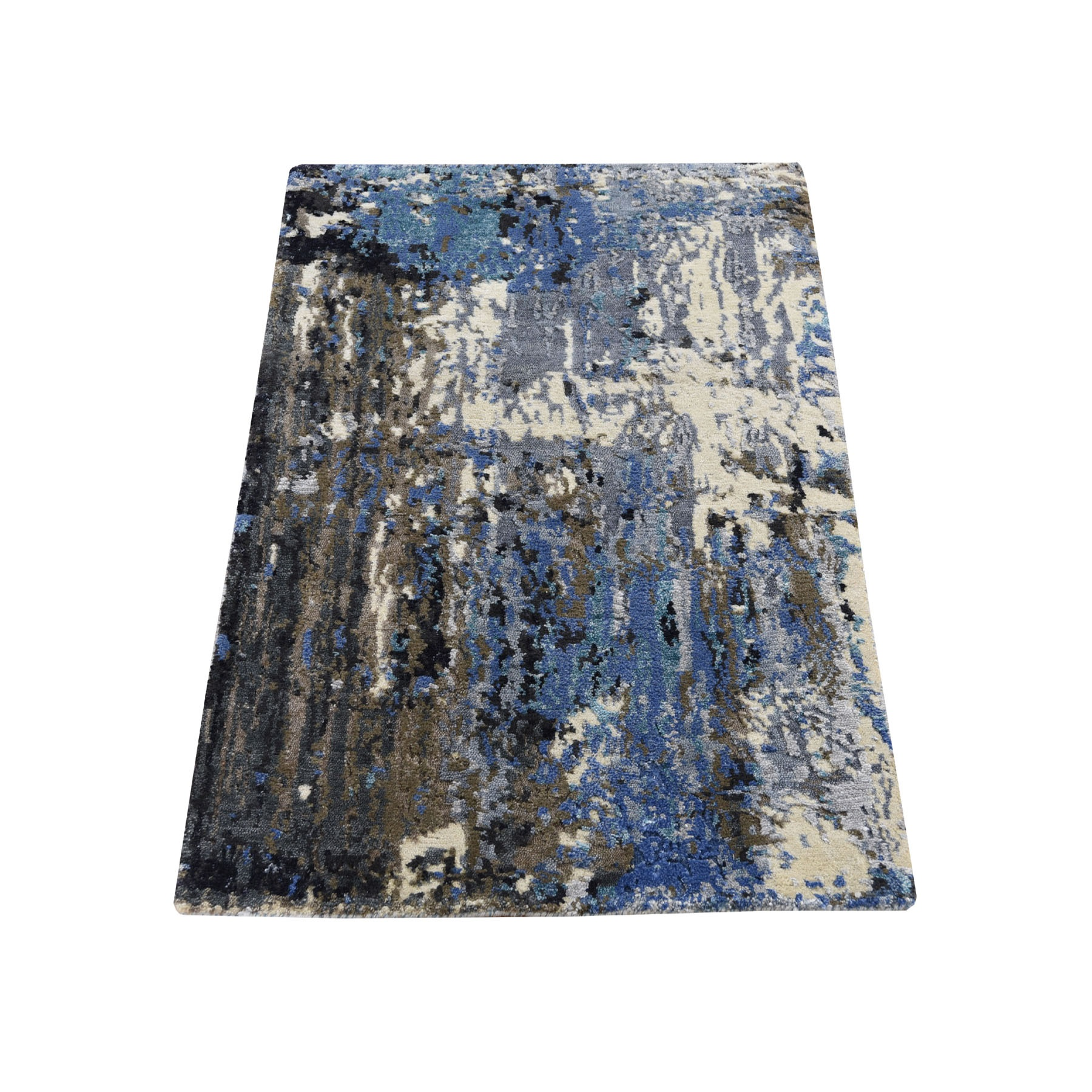 2'X3' Sample Blue-Gray Abstract Design Wool And Silk Hand-Knotted Oriental Rug moad68ca