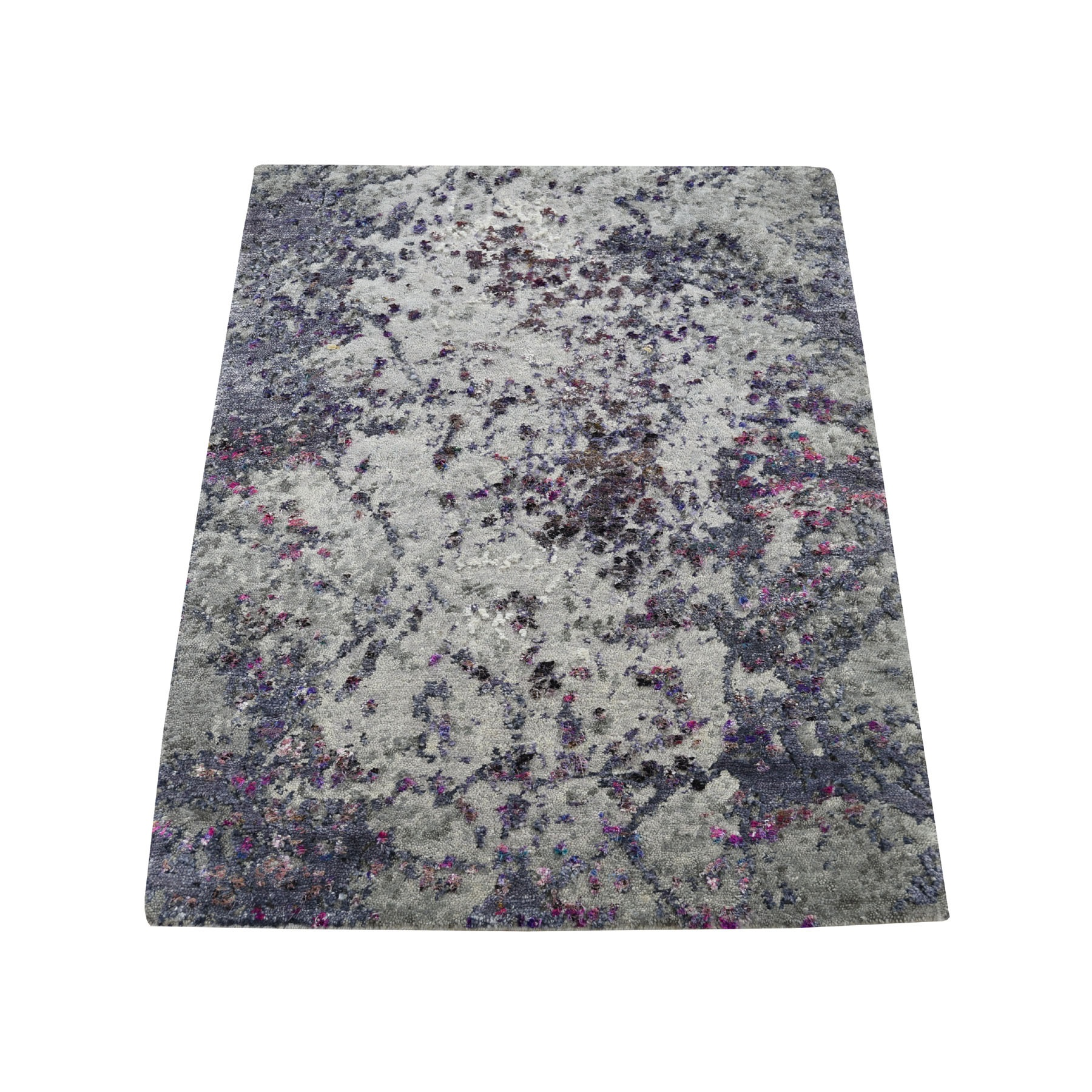 "2'2""x3' Sample Gray Abstract Design Wool and Silk Hand-Knotted Oriental Rug"