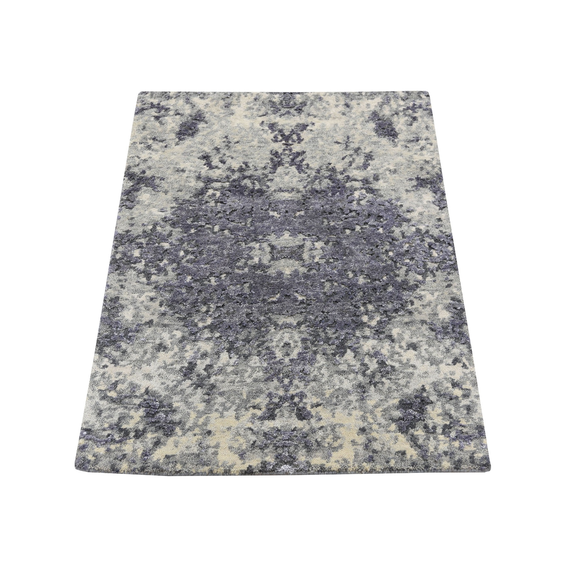2'X3' Sample Lavender Abstract Design Wool And Silk Hand-Knotted Oriental Rug moad68ce