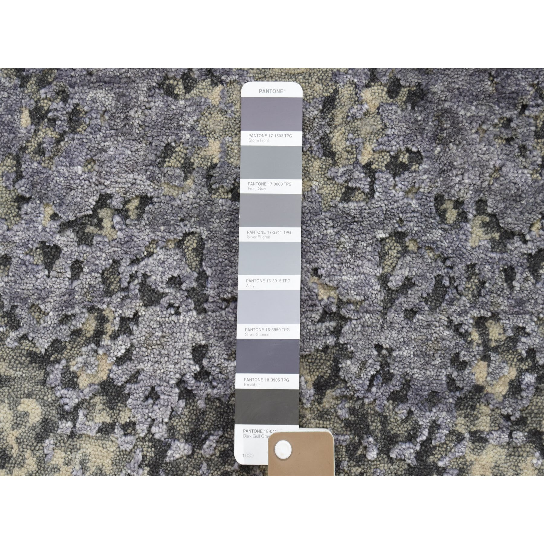 2-x3- Sample Lavender Abstract Design Wool and Silk Hand-Knotted Oriental Rug