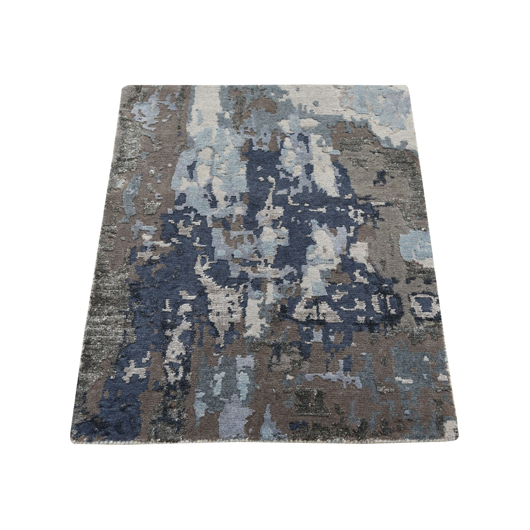 "2'1""X2'10"" Sample Blue Abstract Design Wool And Silk Hand-Knotted Oriental Rug moad68d0"