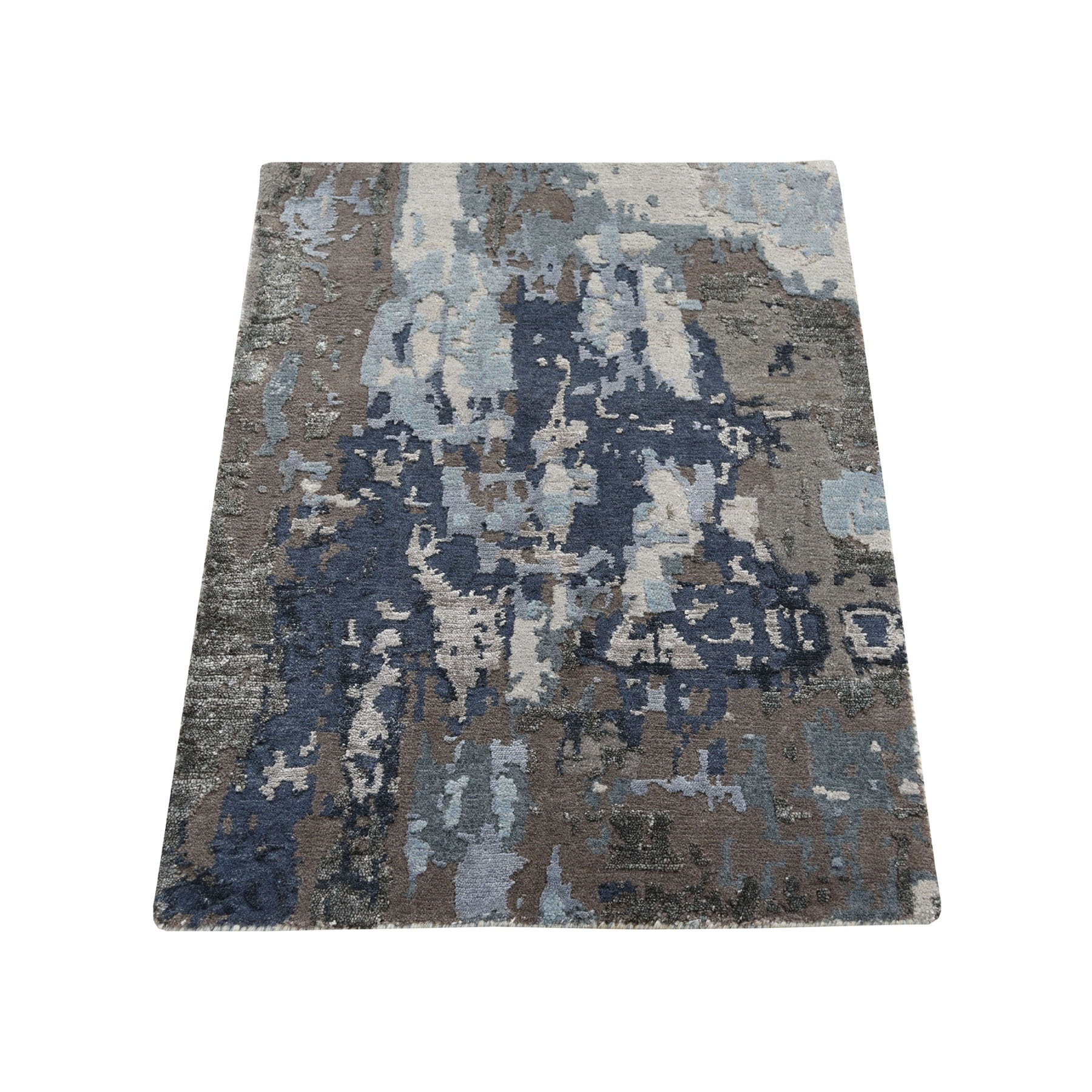 2'X3' Sample Blue Abstract Design Wool And Silk Hand-Knotted Oriental Rug moad68dd