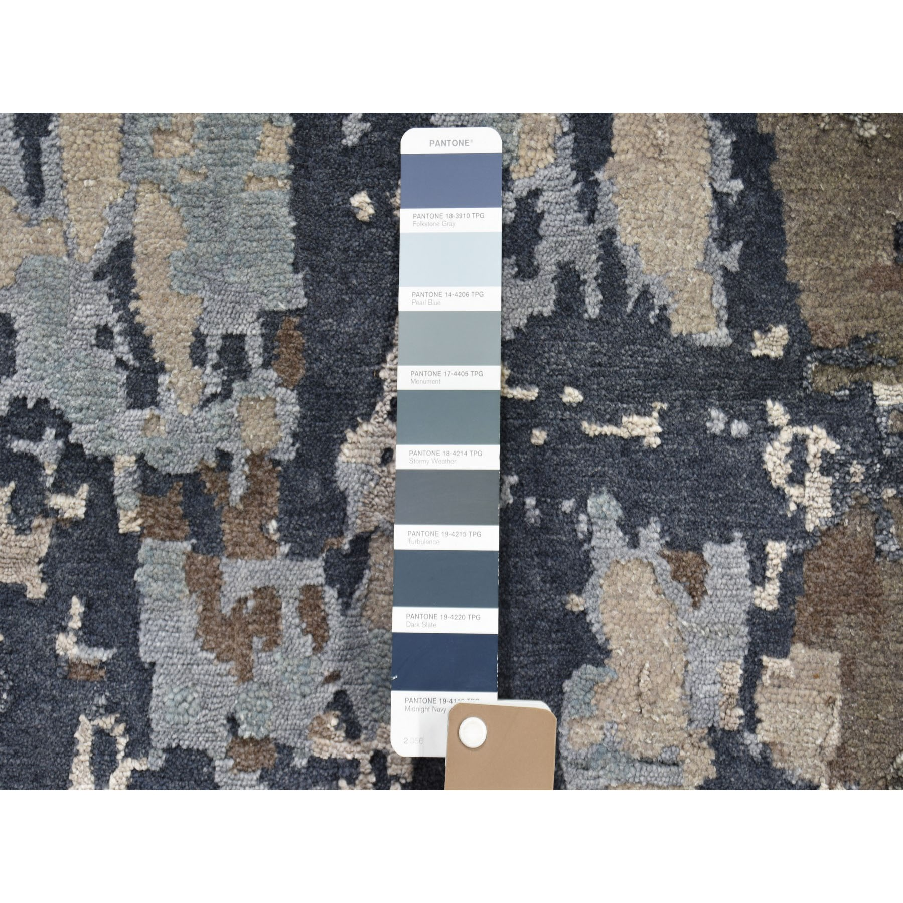 2-x3- Sample Blue Abstract Design Wool and Silk Hand-Knotted Oriental Rug