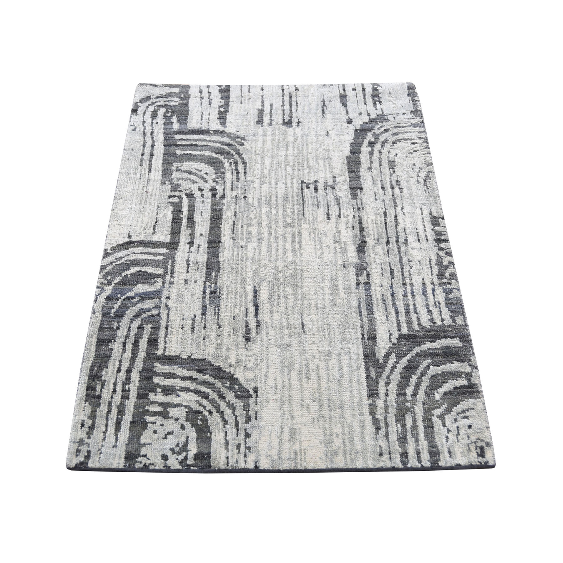 2-x3-2  THE CANE, Pure Silk With Textured Wool Hand-Knotted Oriental Rug Sample
