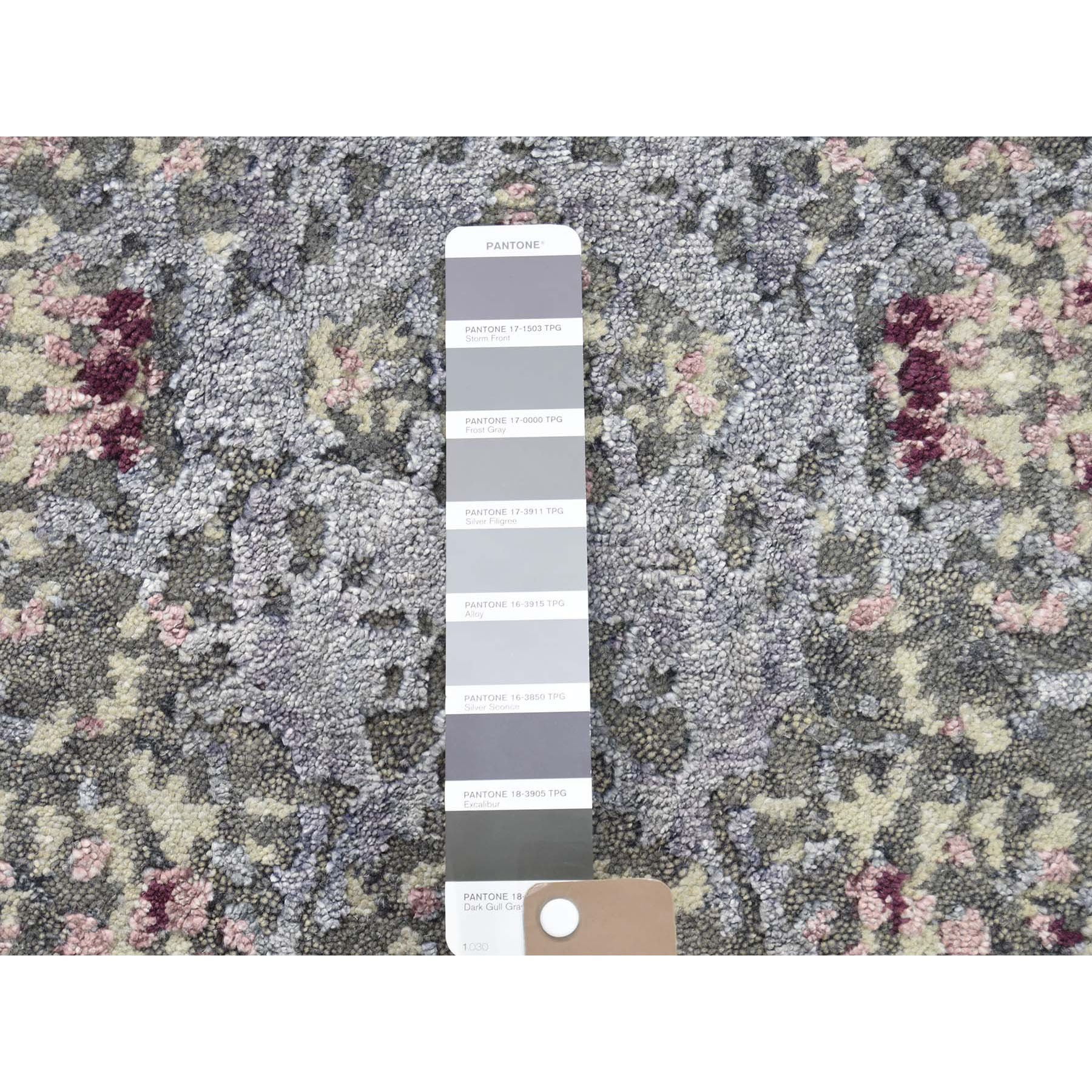 2-x3- Lavender Abstract Design Wool and Silk Hand-Knotted Oriental Rug Sample