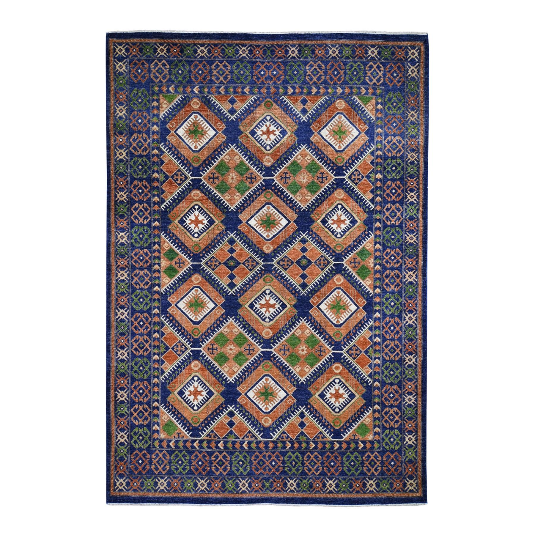"9'X12'5"" Blue Afghan Ersari Geometric Design Pure Wool Hand-Knotted Oriental Rug moad68ee"