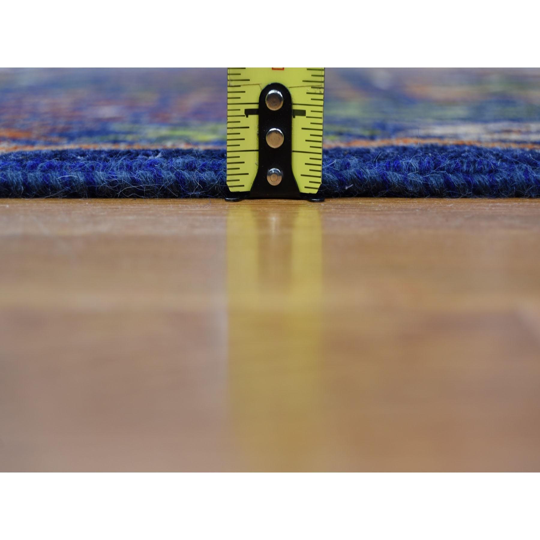 9-x12-5  Blue Afghan Ersari Geometric Design Pure Wool Hand-Knotted Oriental Rug