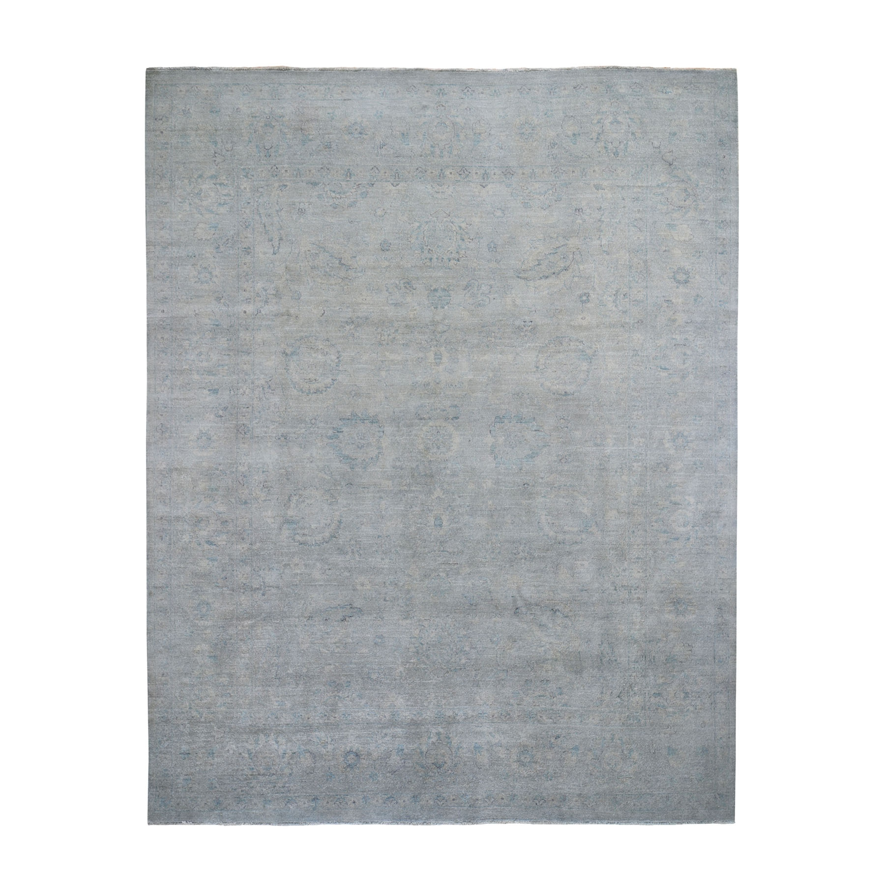 """8'1""""X10'3"""" Hand-Knotted Silver Wash Peshawar Pure Wool Oriental Rug moad688d"""