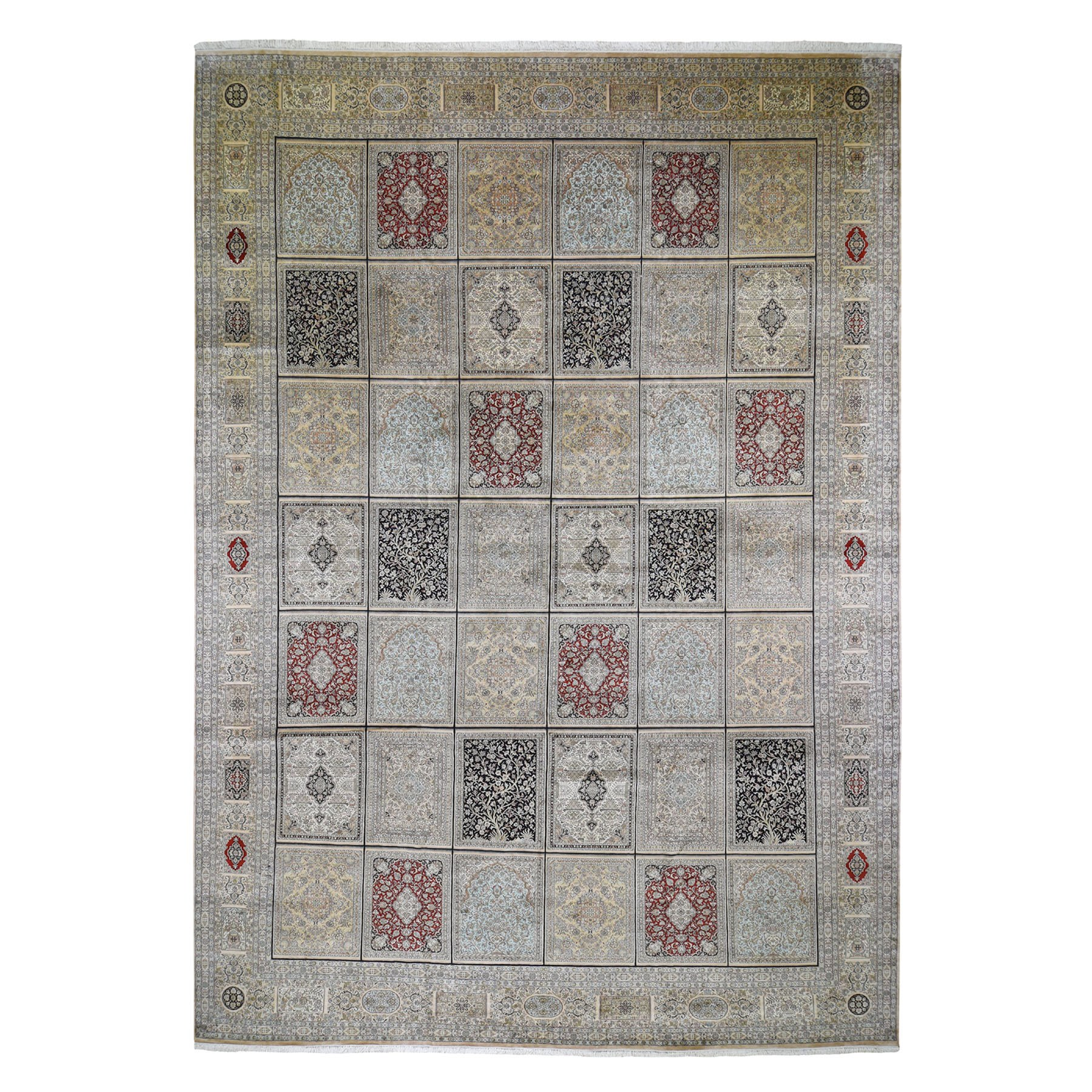 "12'X17'4"" Kashmir Pure Silk 576 Kpsi Panel Design Mansion Size Hand-Knotted Oriental Rug moad69ab"
