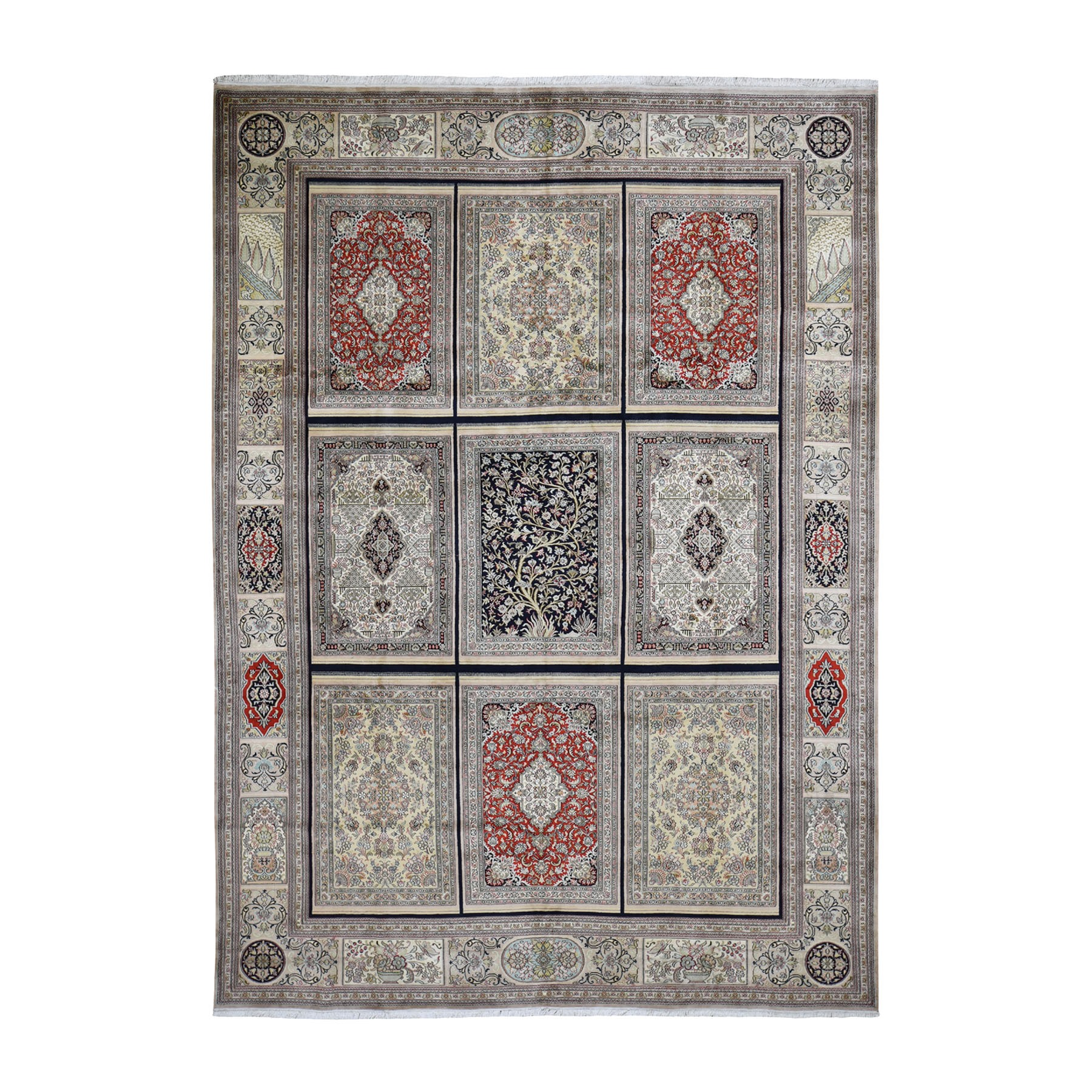 "7'1""X10'3"" Kashmir Pure Silk 576 Kpsi Panel Design Hand-Knotted Oriental Rug moad69ae"