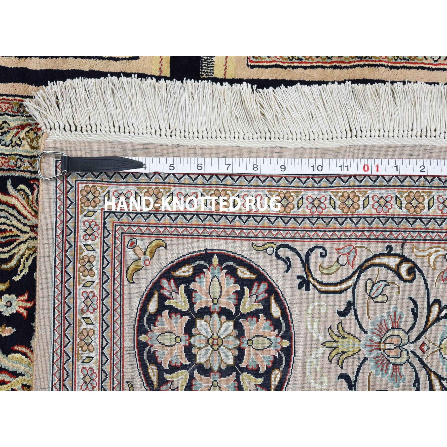 7-1 x10-3  Kashmir Pure Silk 576 KPSI Panel Design Hand-Knotted Oriental Rug